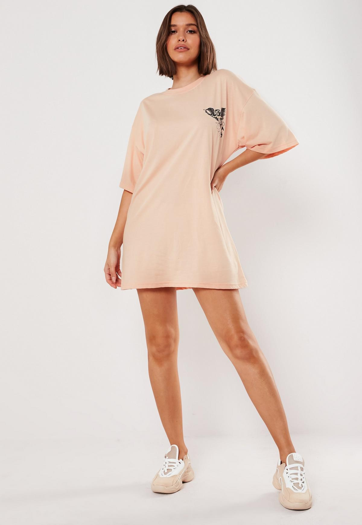 Peach Oversized Palm Springs Graphic T Shirt Dress