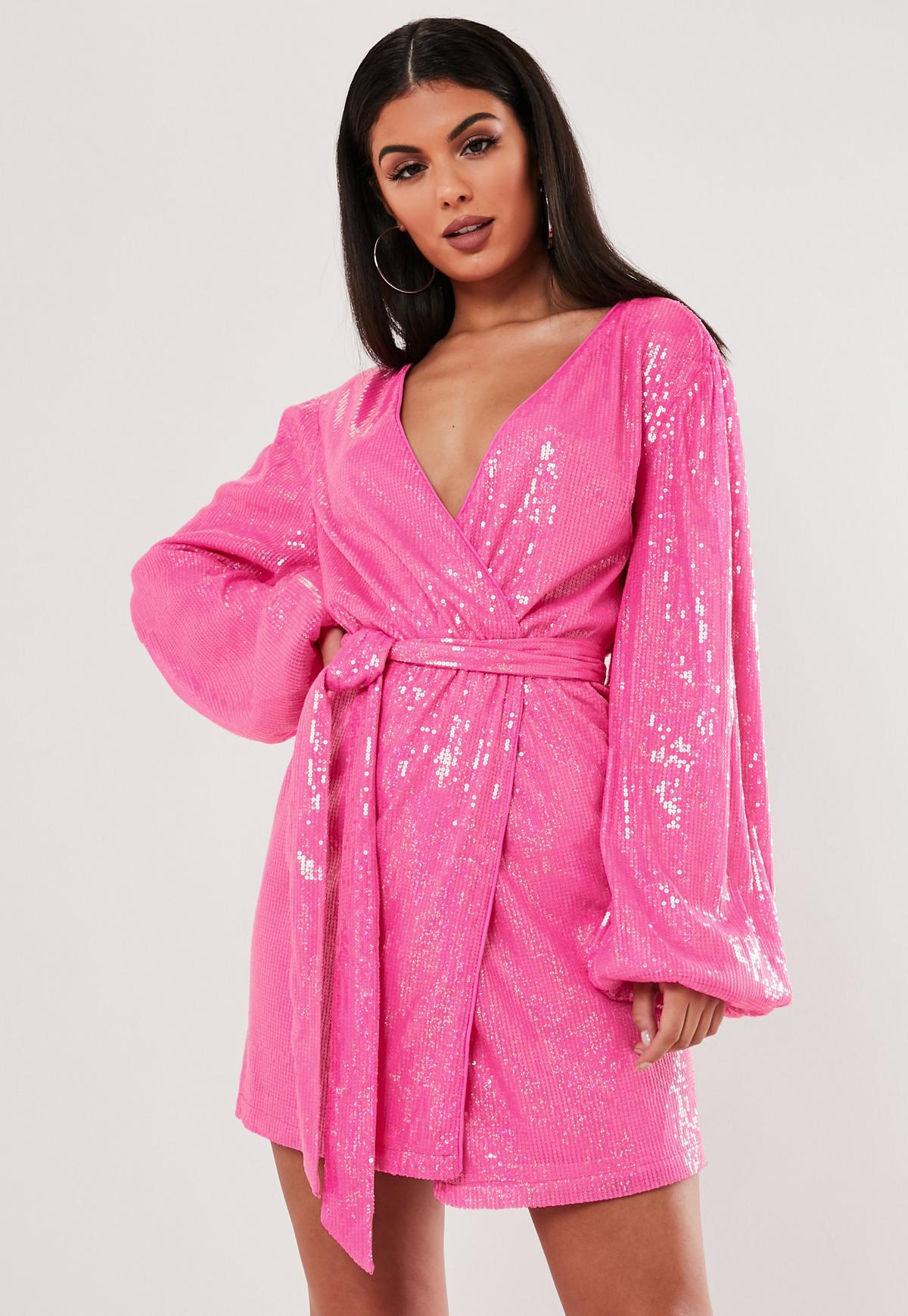 100% genuine 100% authentic professional sale Pink Sequin Wrap Balloon Sleeve Mini Dress | Missguided