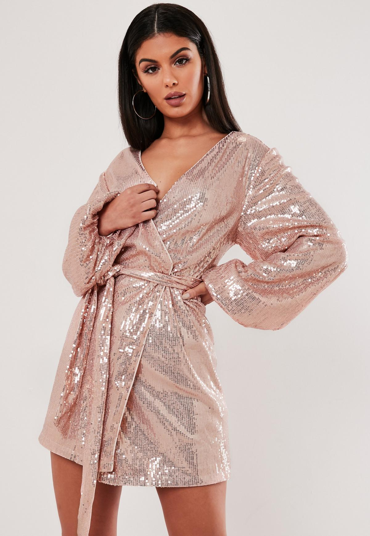 Rose Gold Sequin Wrap Balloon Sleeve Mini Dress Missguided