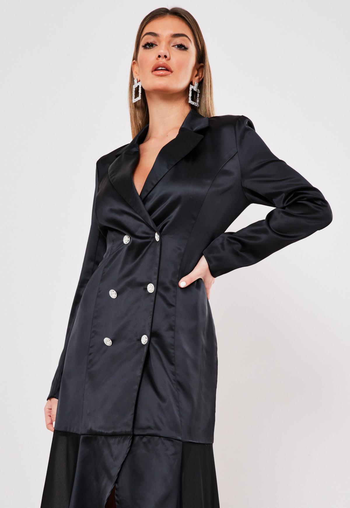 Plus Size Black Diamante Button Blazer Dress