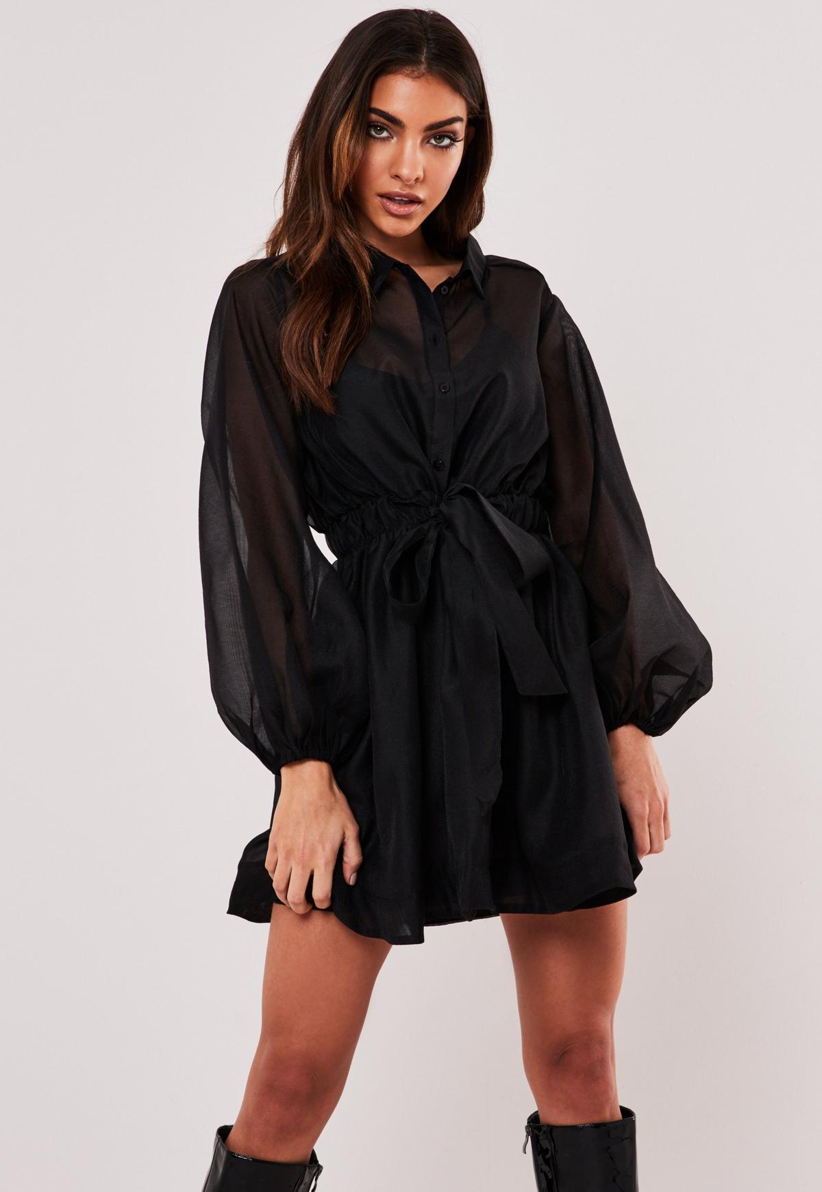 Black Organza Long Sleeve Skater Shirt Dress