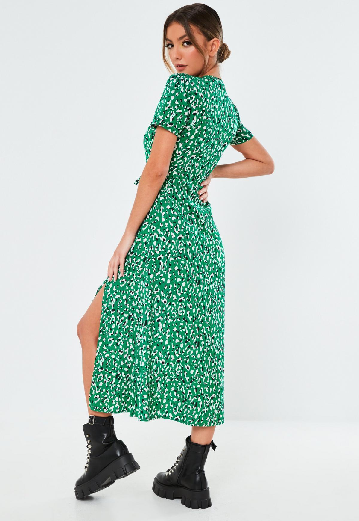 Green Leopard Button Midi Tea Dress | Missguided