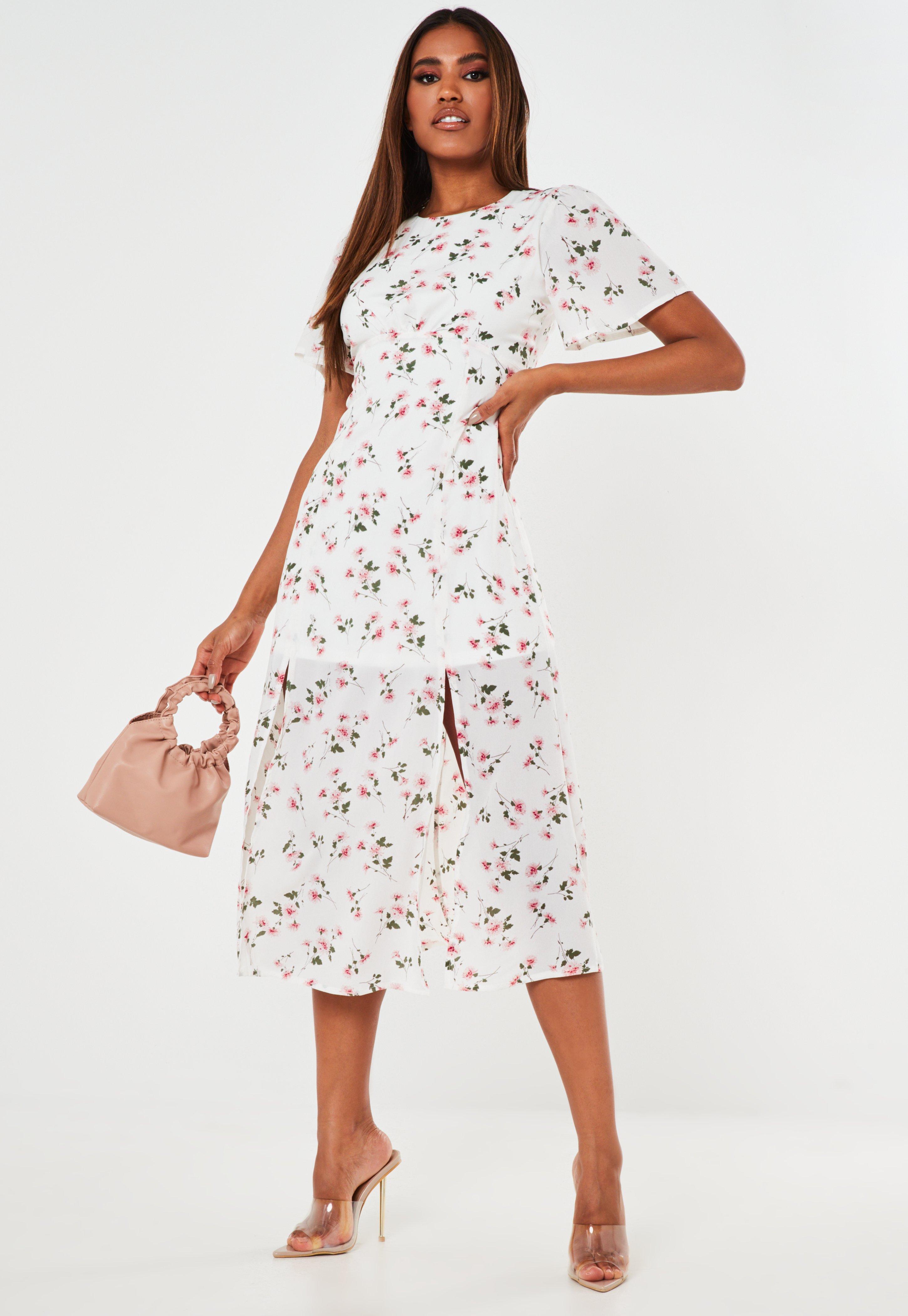 white floral midi dress