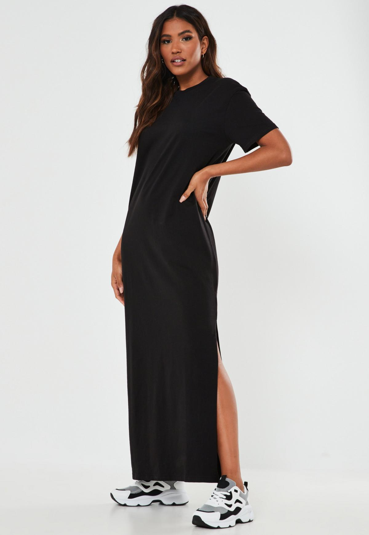Black Basic T Shirt Maxi Dress