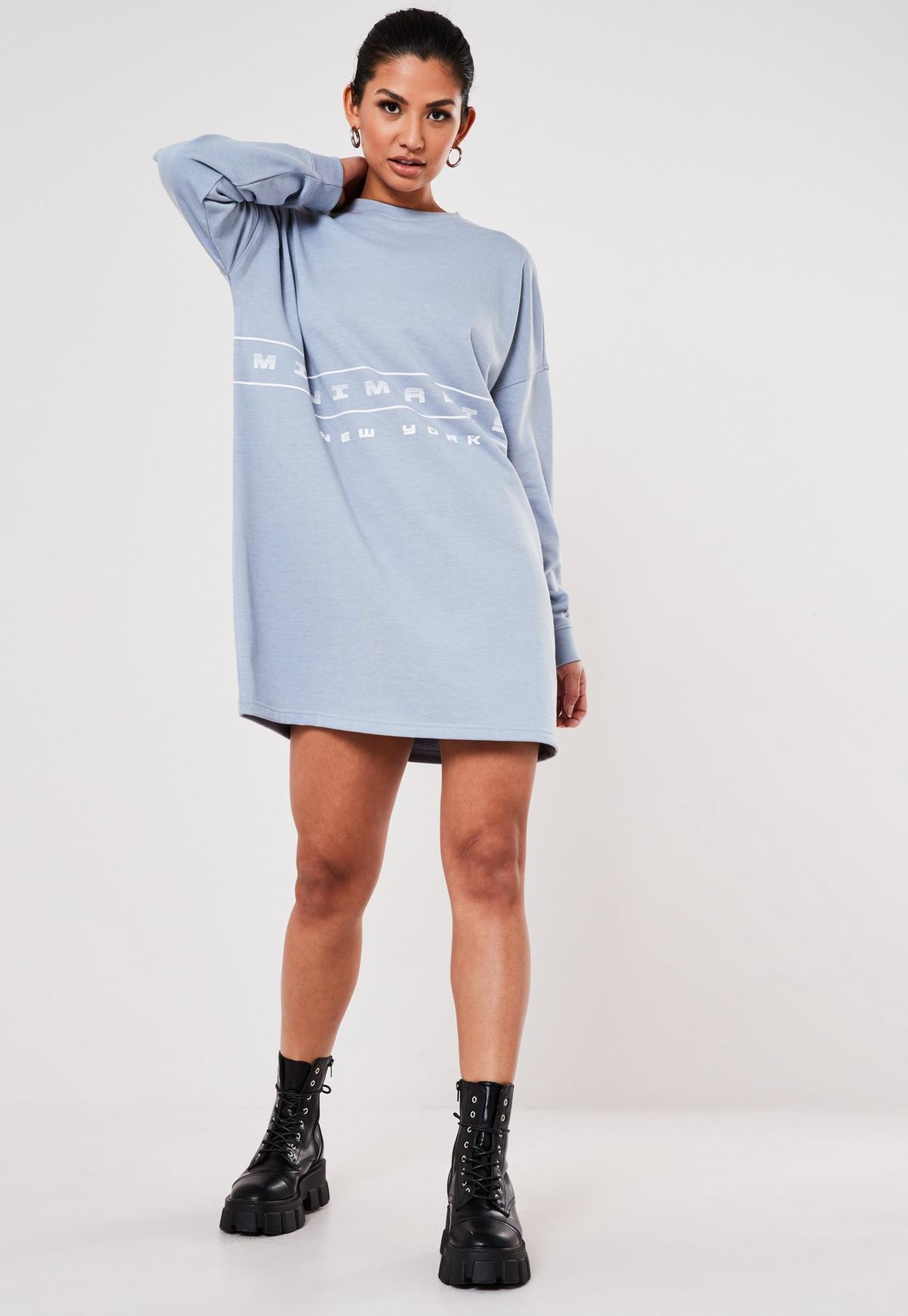 blue oversized minimalist slogan sweater dress