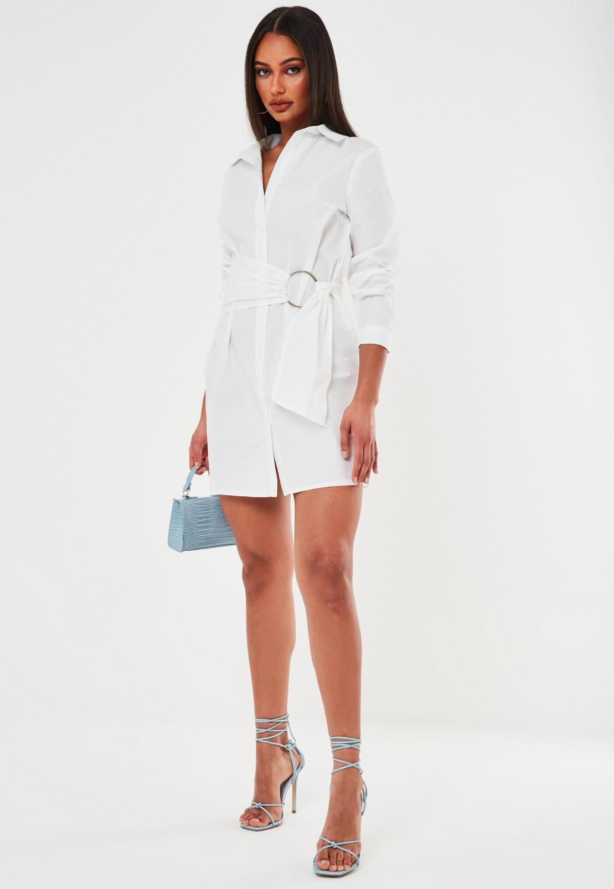 white poplin belted shirt dress