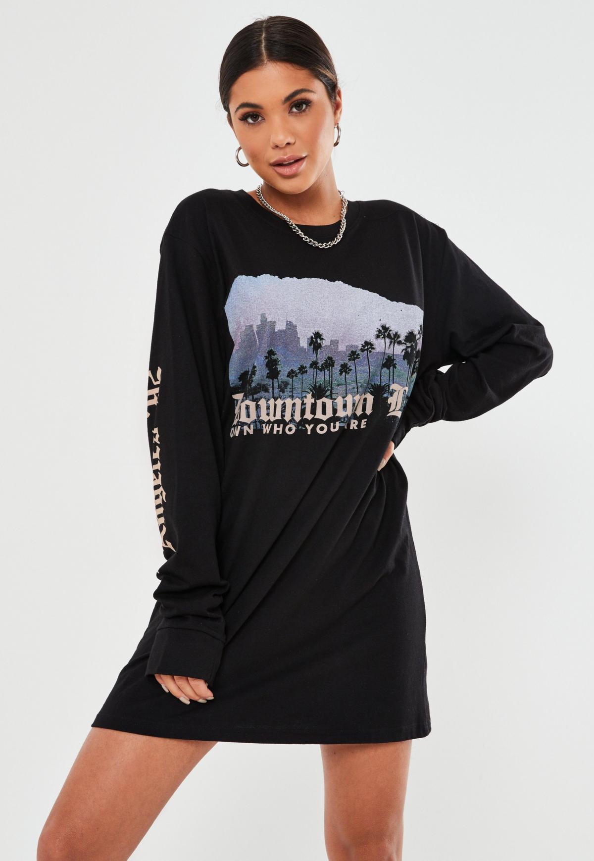 Black Oversized Downtown Graphic T Shirt Dress