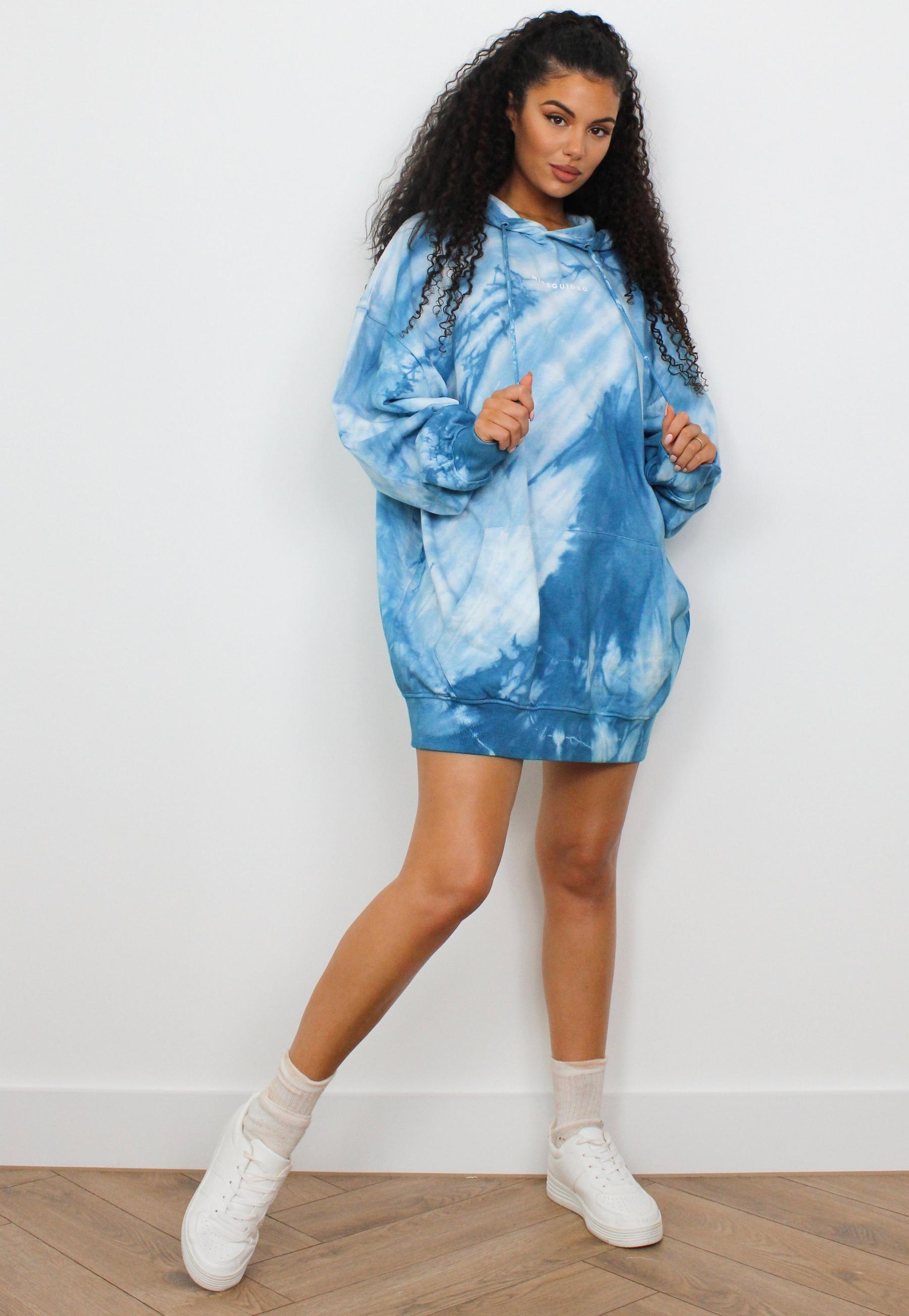 Blue Tie Dye Missguided Oversized Hooded Sweater Dress