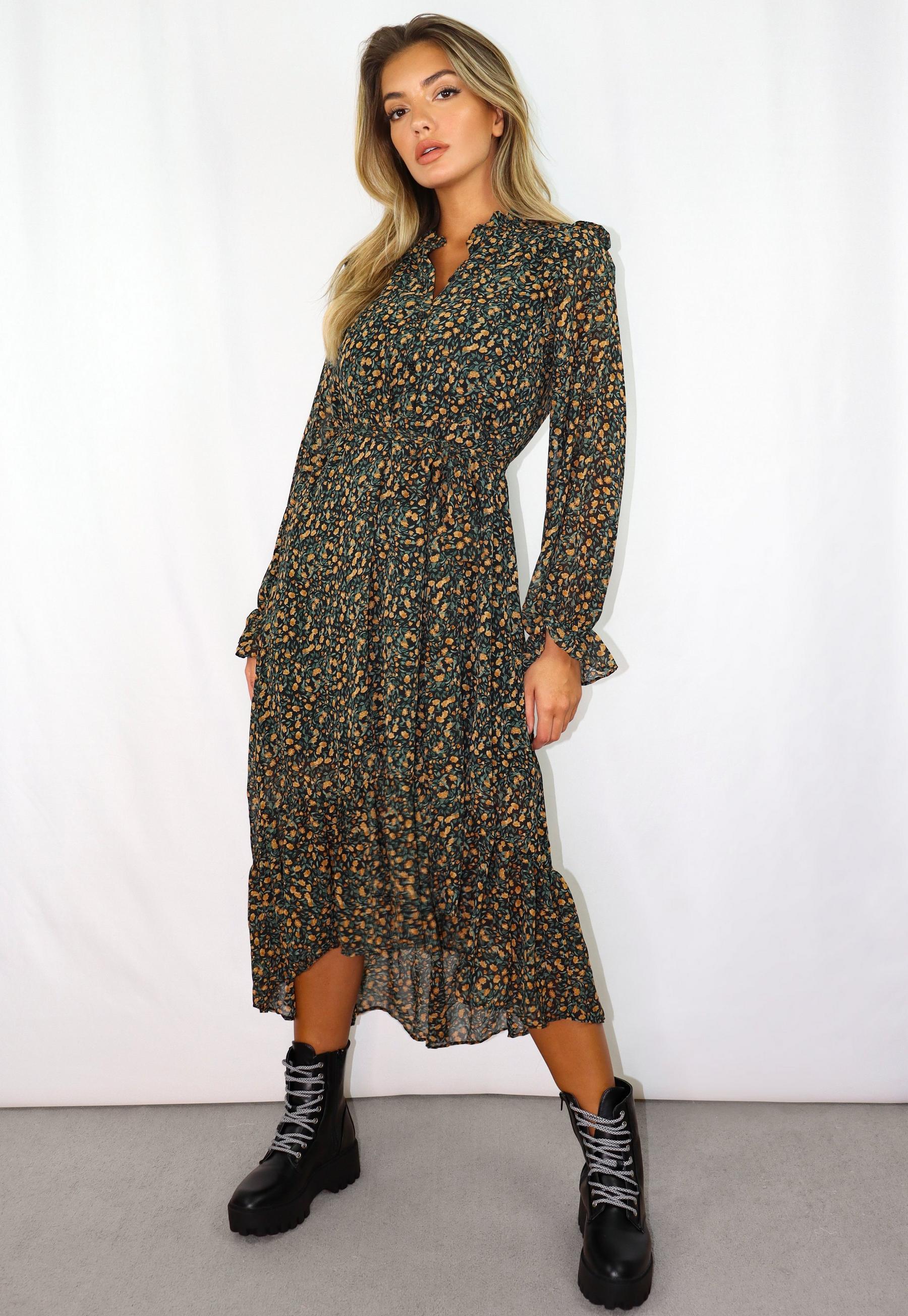Langärmeliges Smock-Kleid in Midi-Länge mit Blumenmuster ...