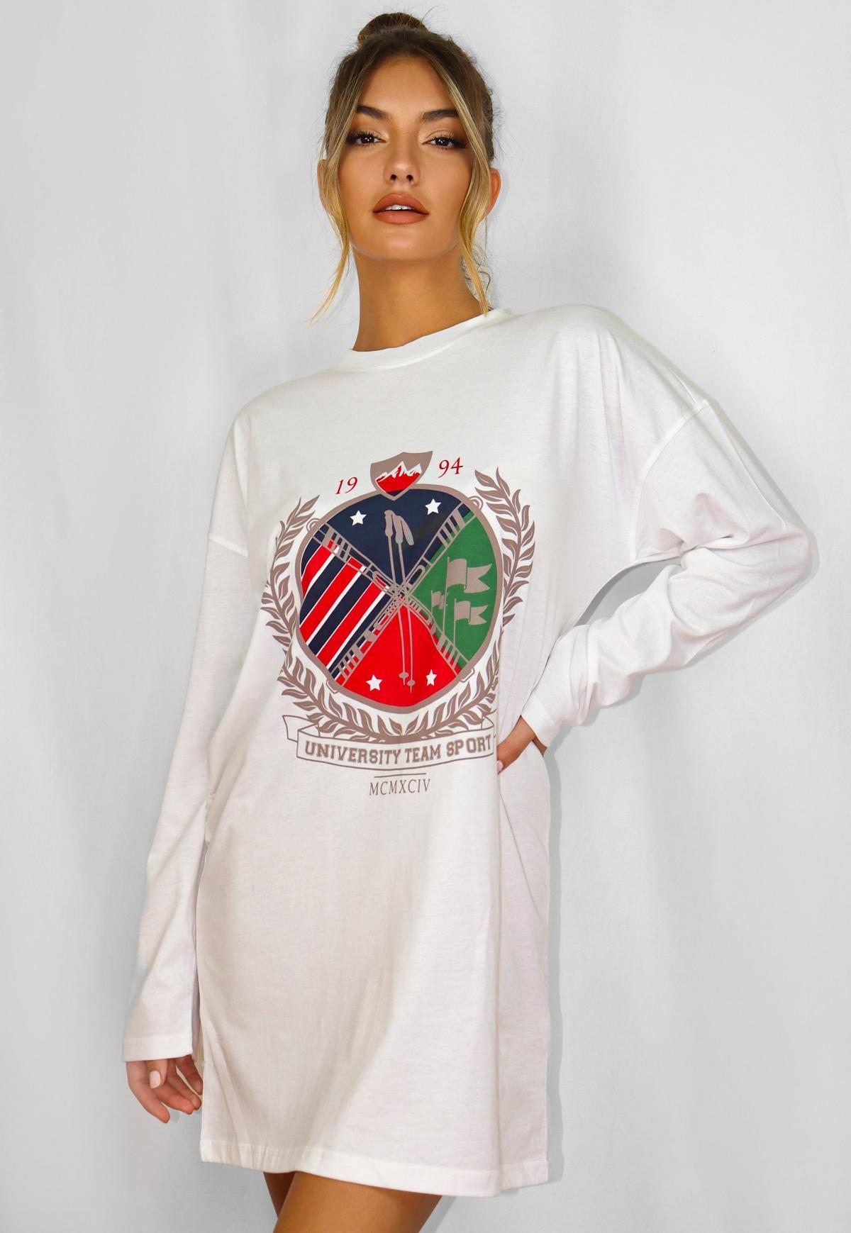 White Oversized Graphic Long Sleeve T Shirt Dress