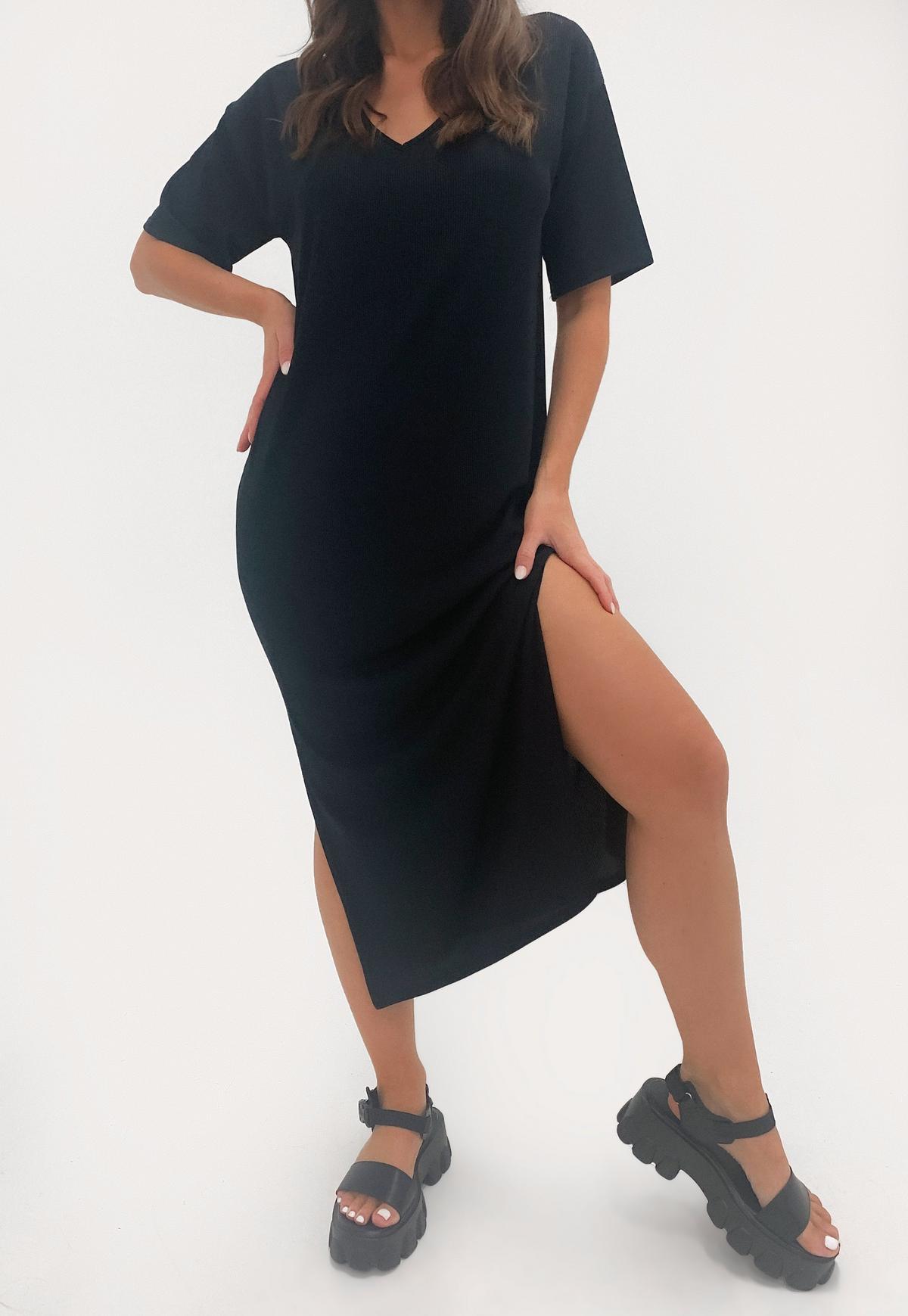 Black V Neck Midi Oversized T Shirt Dress