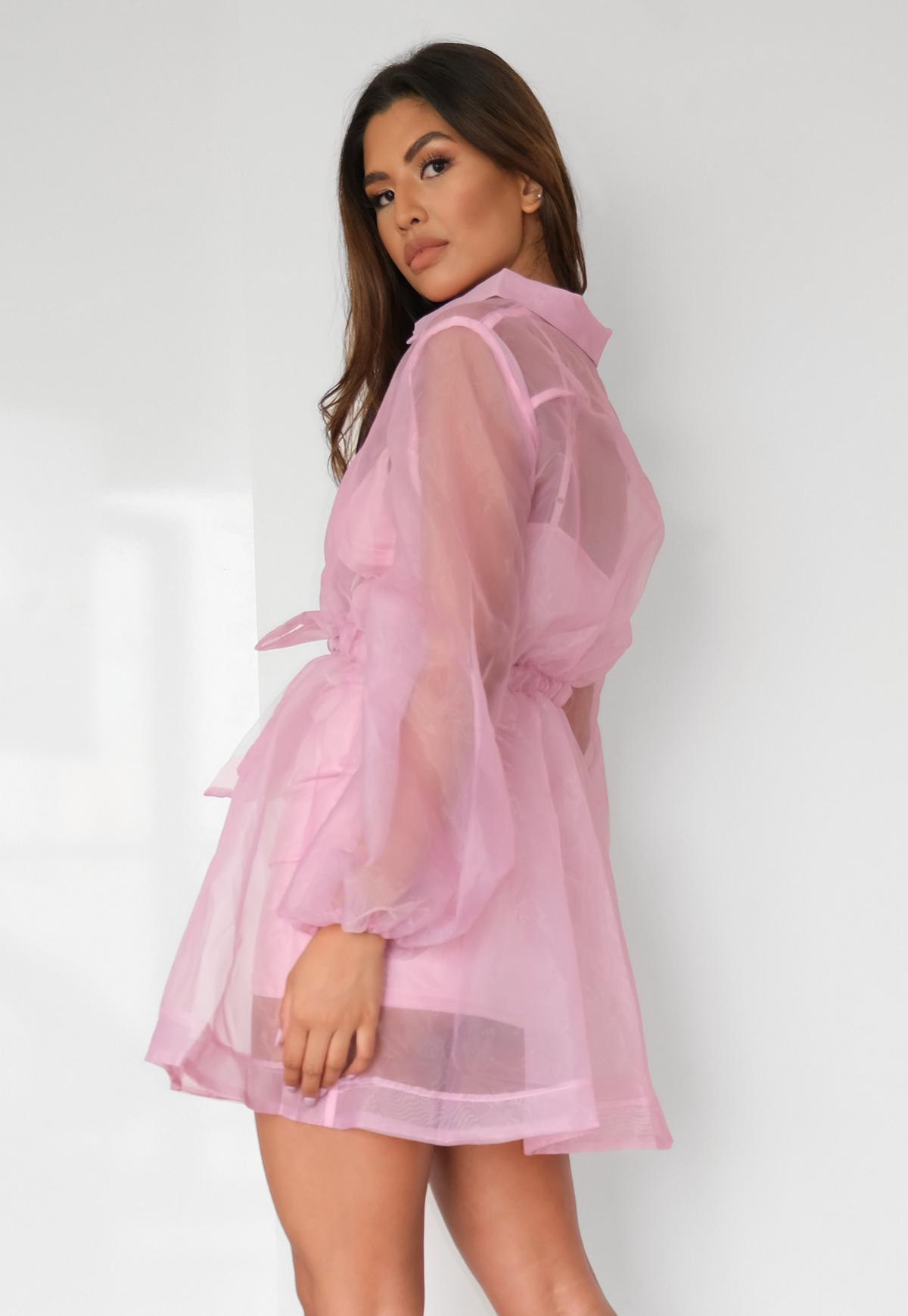 Petite Pink Organza Long Sleeve Skater Shirt Dress