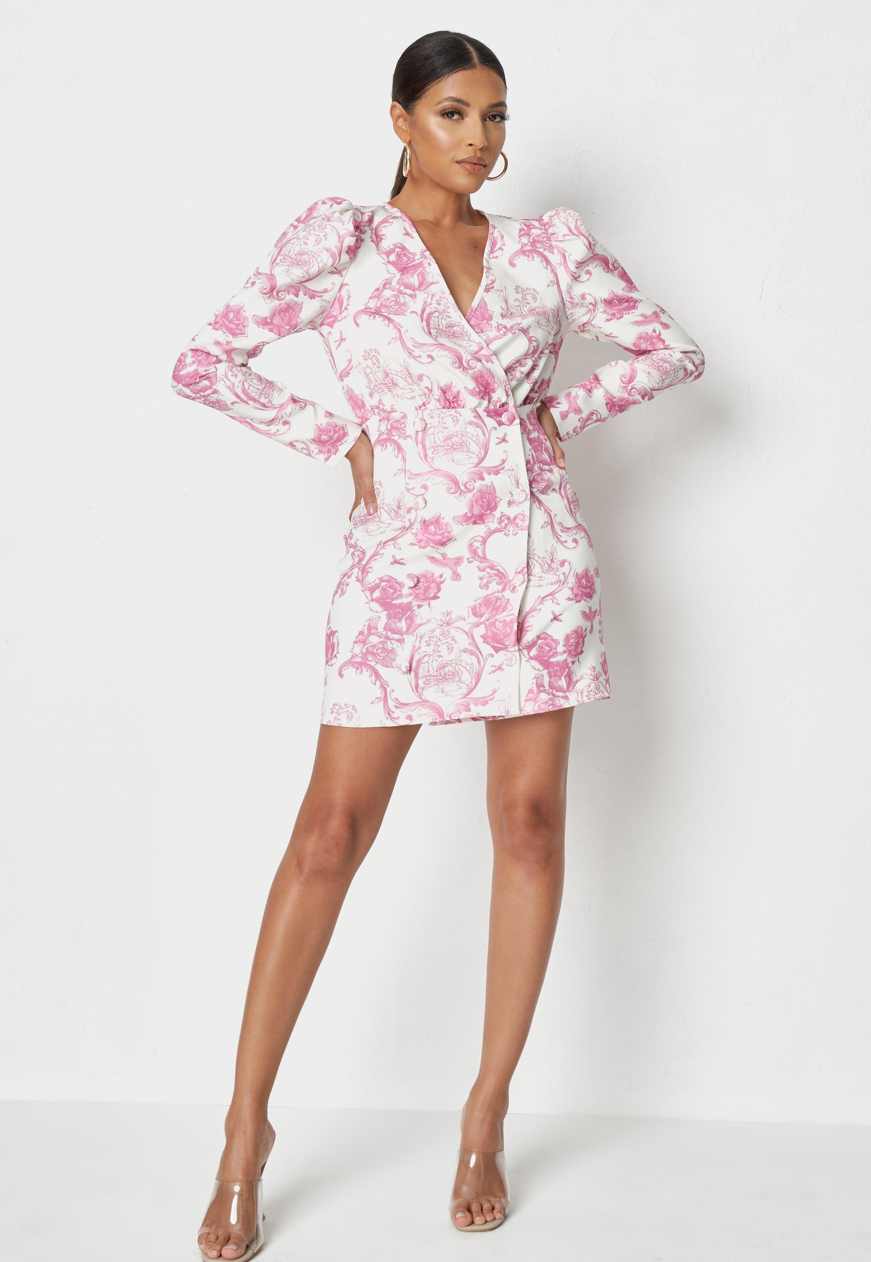 Pink Rose Puff Sleeve Long Dress