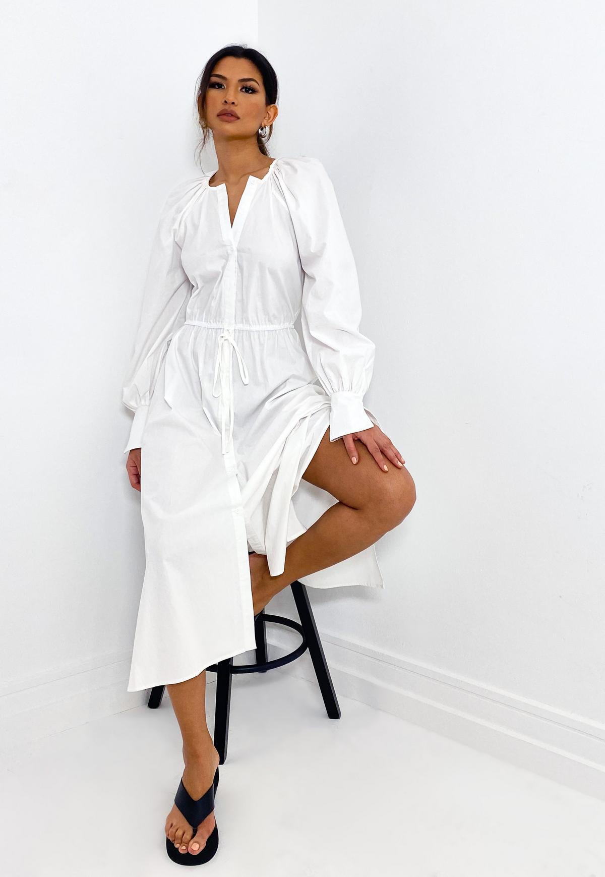 White Poplin Raglan Midi Shirt Dress