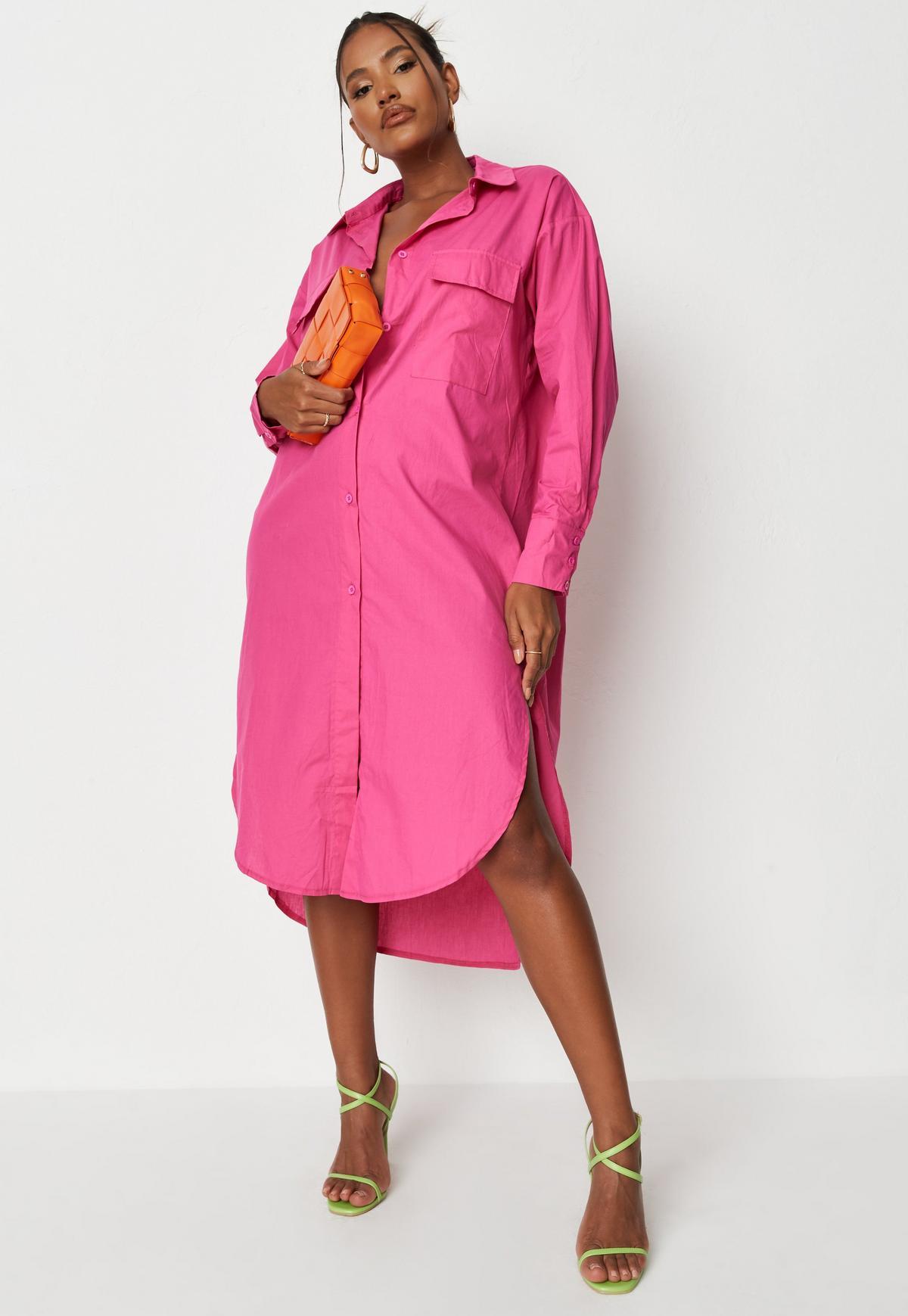 Pink Poplin Midi Shirt Dress