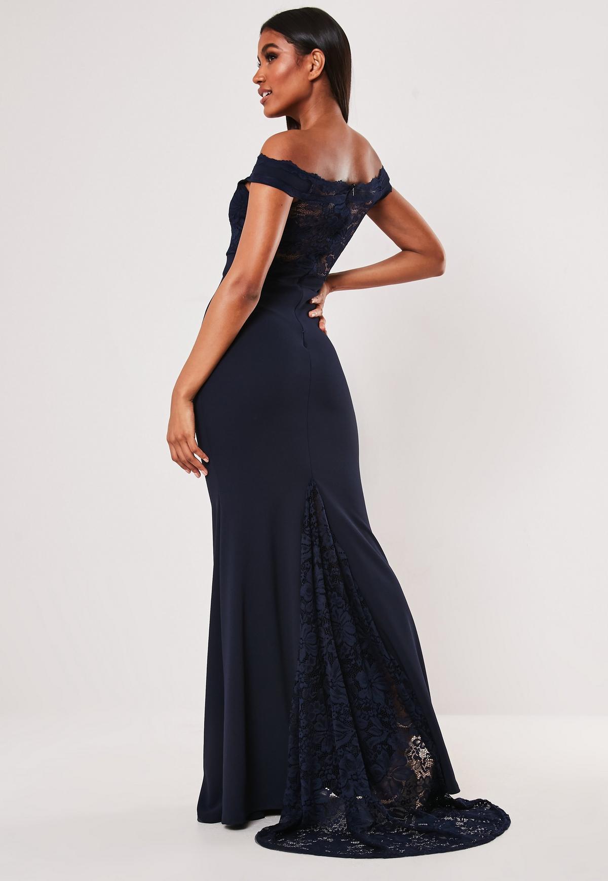 Navy Bardot Lace Insert Fishtail Maxi Dress