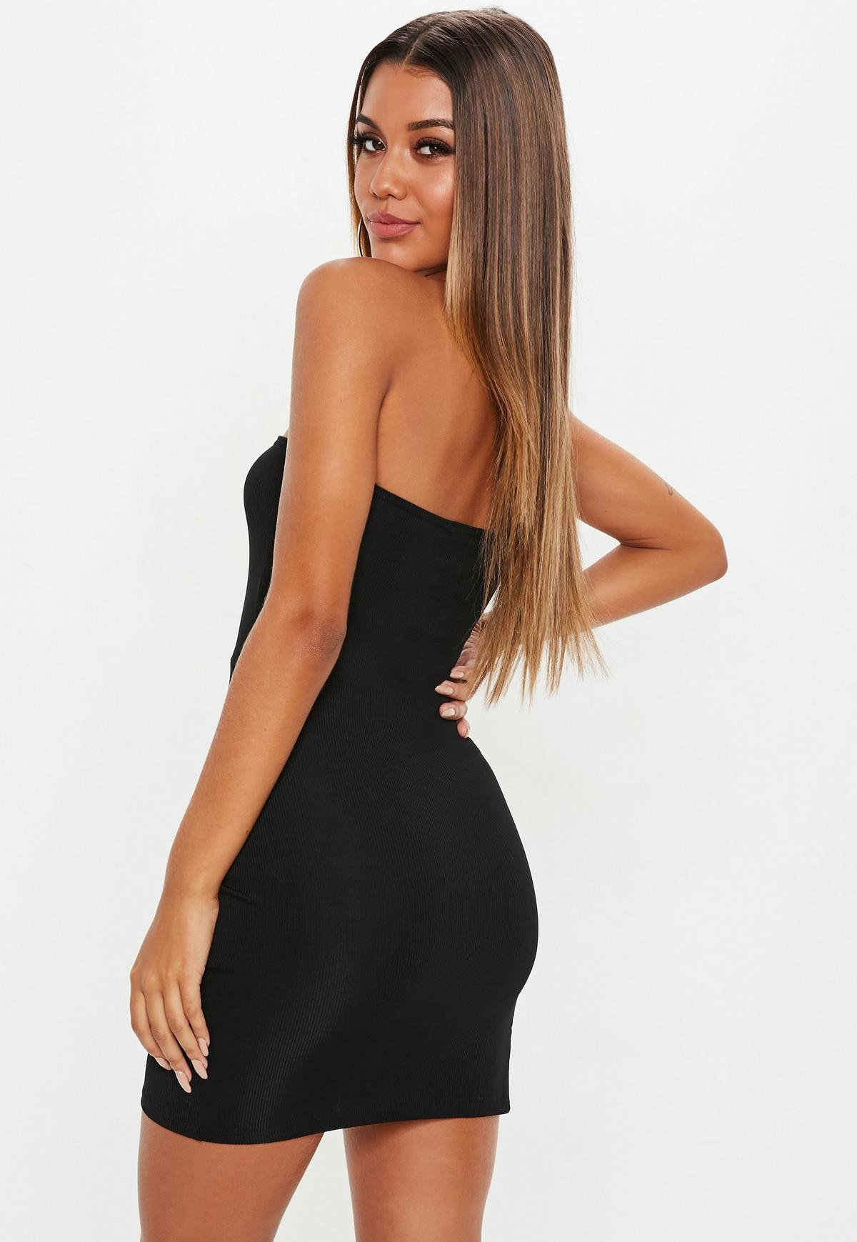 Black Bandeau Ribbed Thigh Split Bodycon Mini Dress