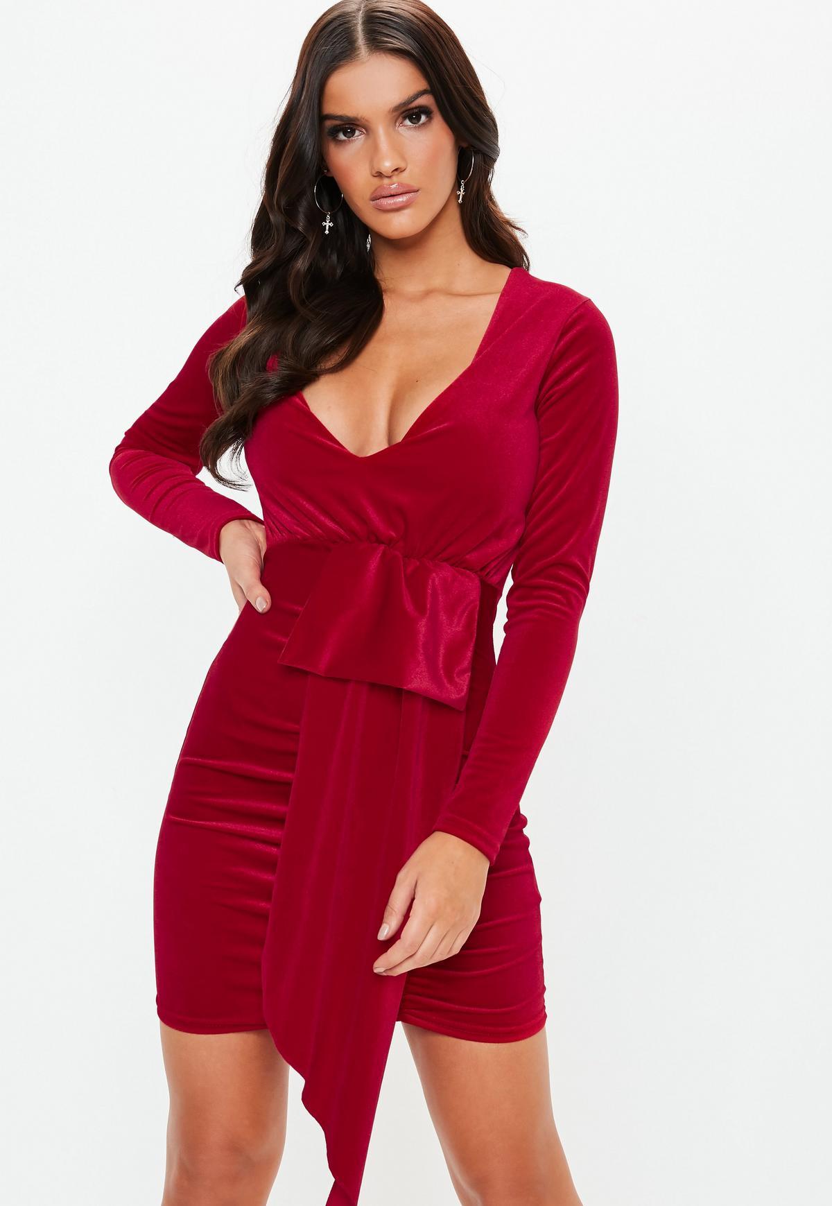 Verbazingwekkend Red Velvet Plunge Drape Bodycon Mini Dress   Missguided SV-78
