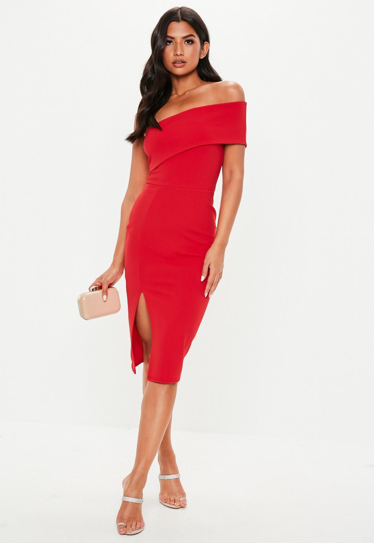 red one shoulder bodycon midi dress