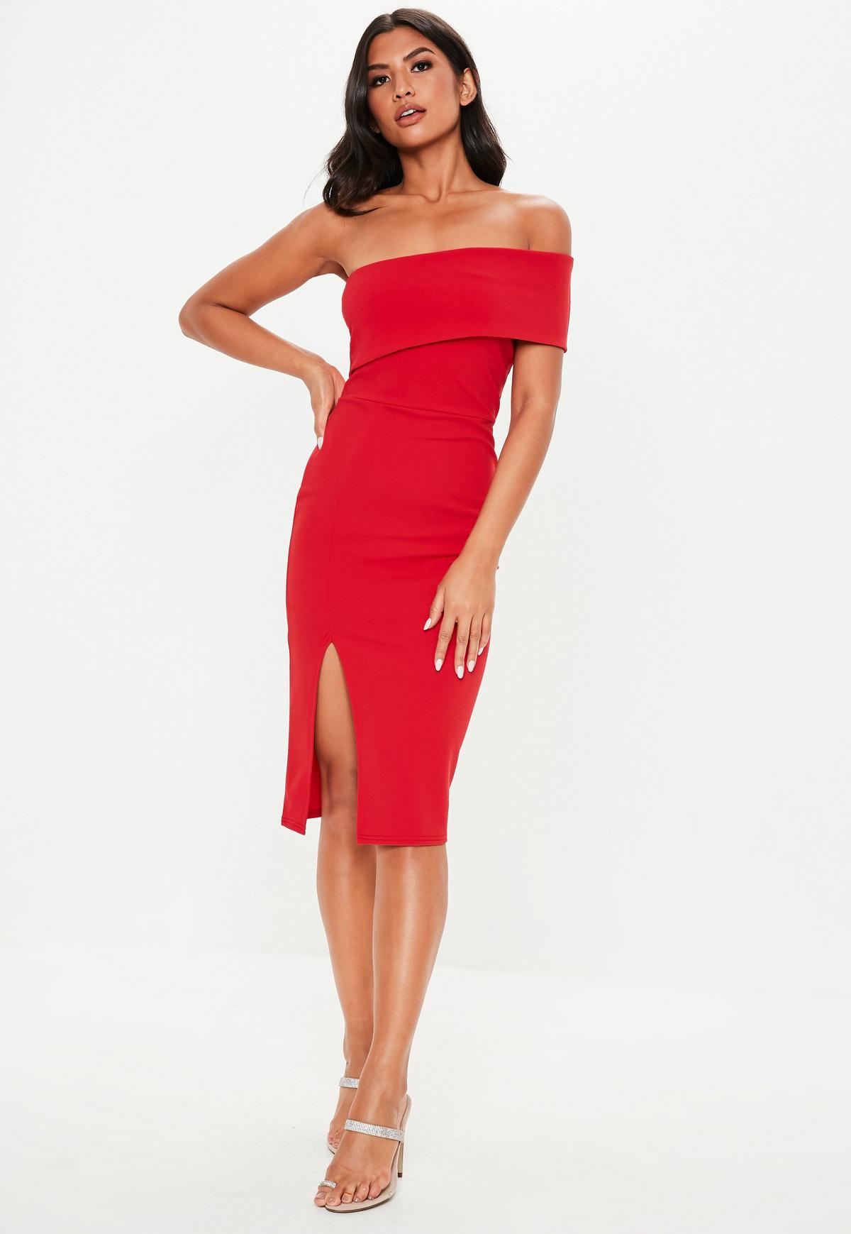 Petite Red One Shoulder Bodycon Midi Dress Missguided