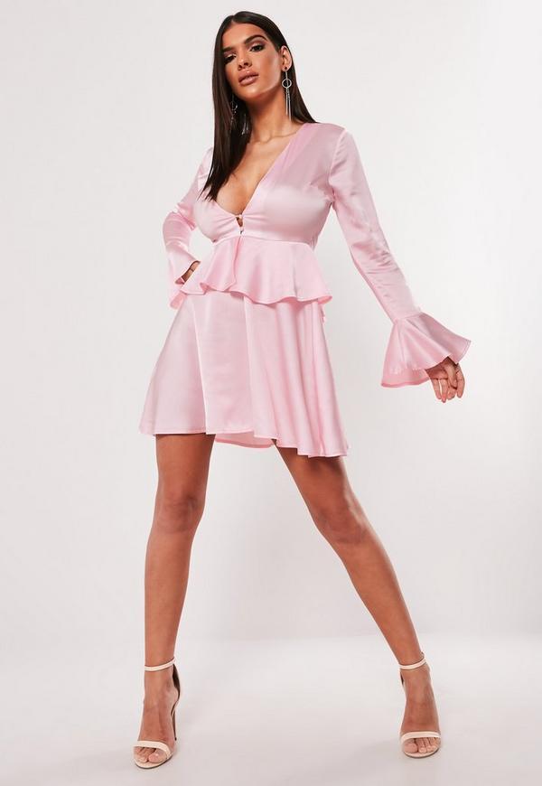 Pink Satin Plunge Button Peplum Skater Dress