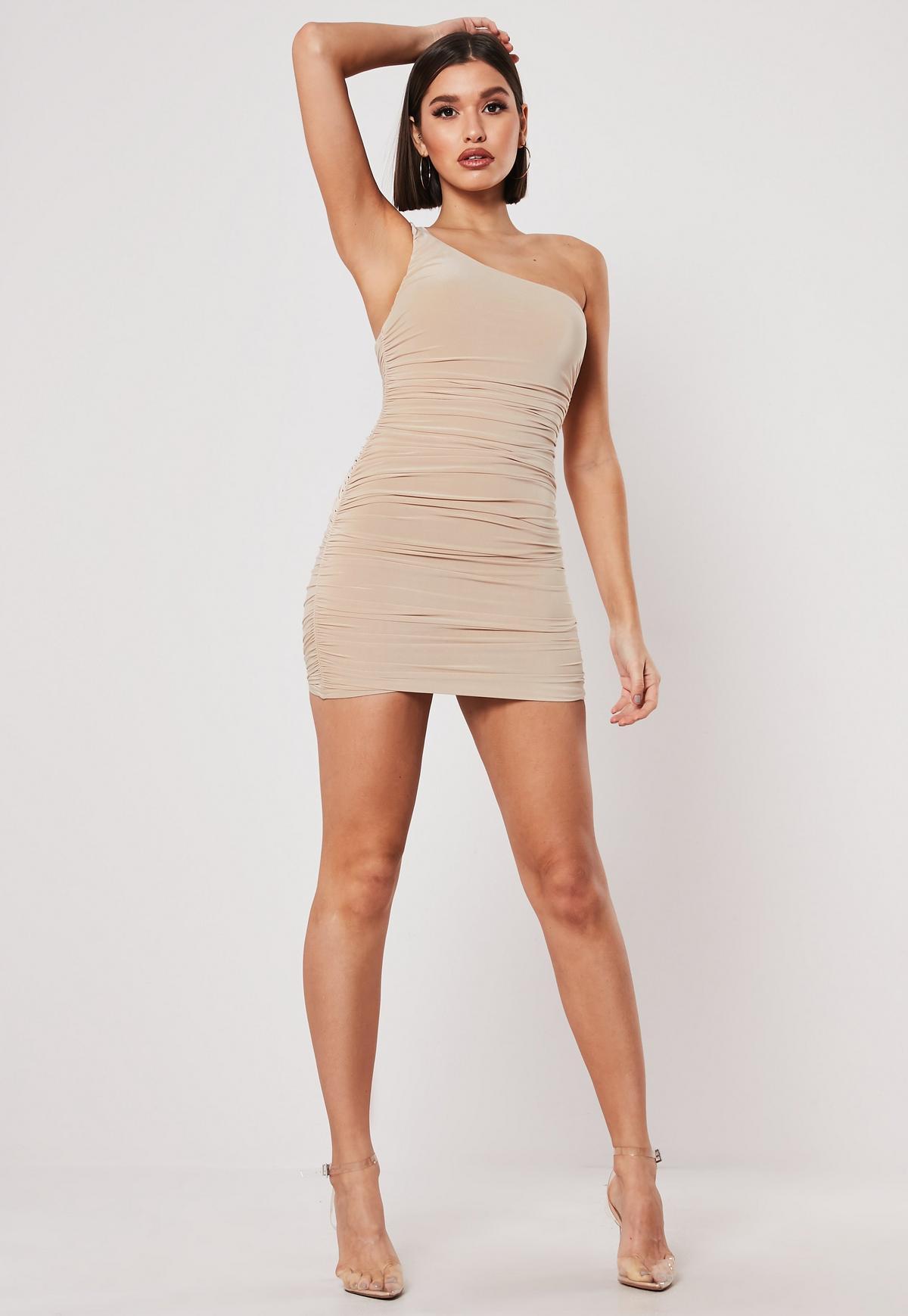 Blush Slinky One Shoulder Ruched Bodycon Mini Dress #