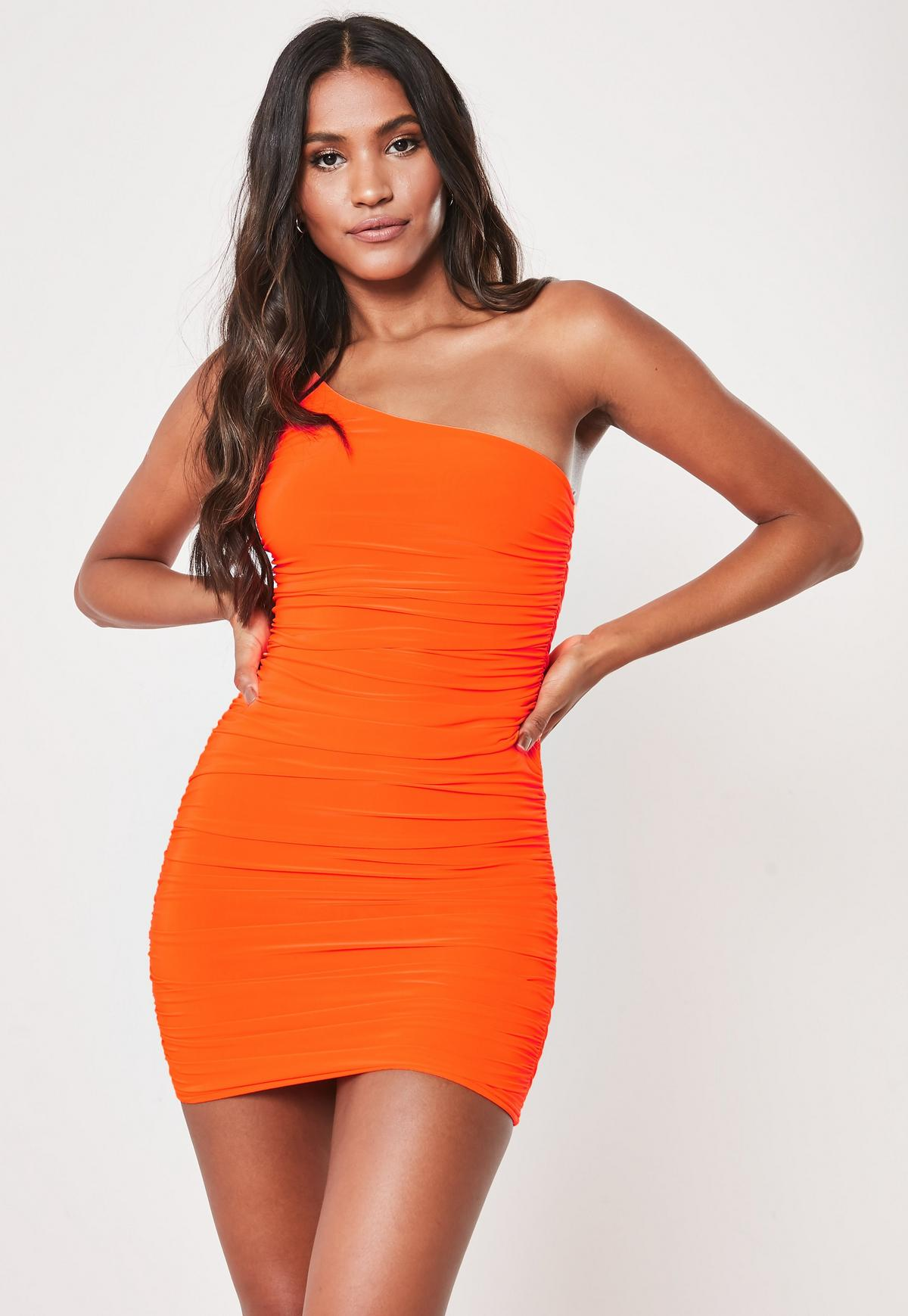 tall neon orange slinky one shoulder ruched bodycon mini dress