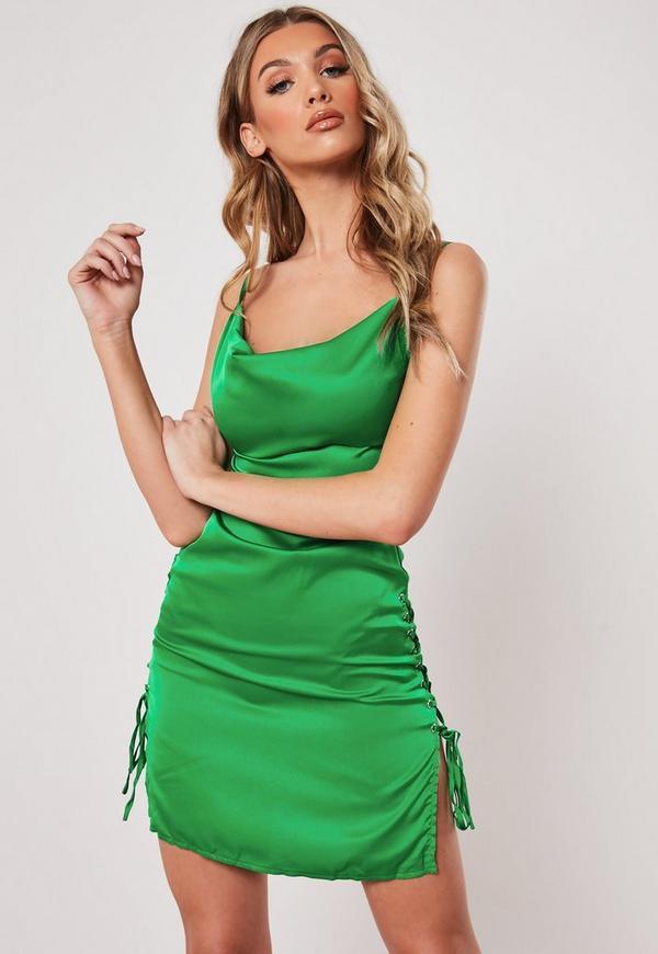de217c76cd8 Green Cowl Front Lace Up Satin Bodycon Mini Dress   Missguided Australia