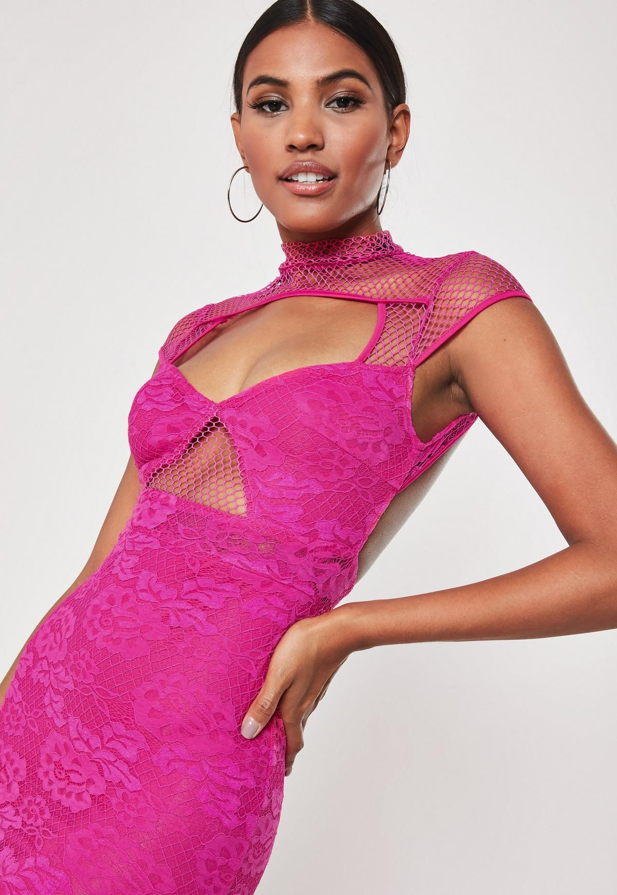Hot Pink Lace Fishnet Cut Out Bodycon Mini Dress Missguided