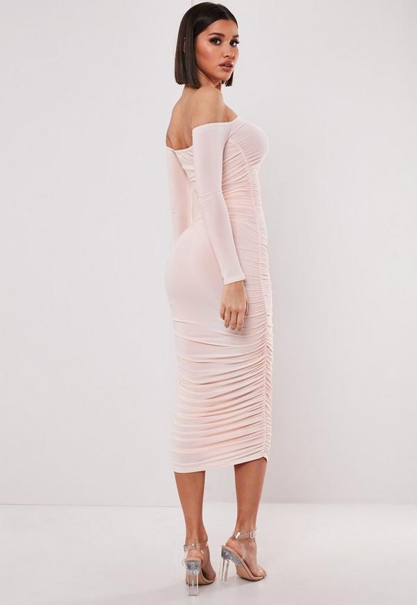 1f1e5baa527 Blush Bardot Slinky Ruched Bodycon Midaxi Dress