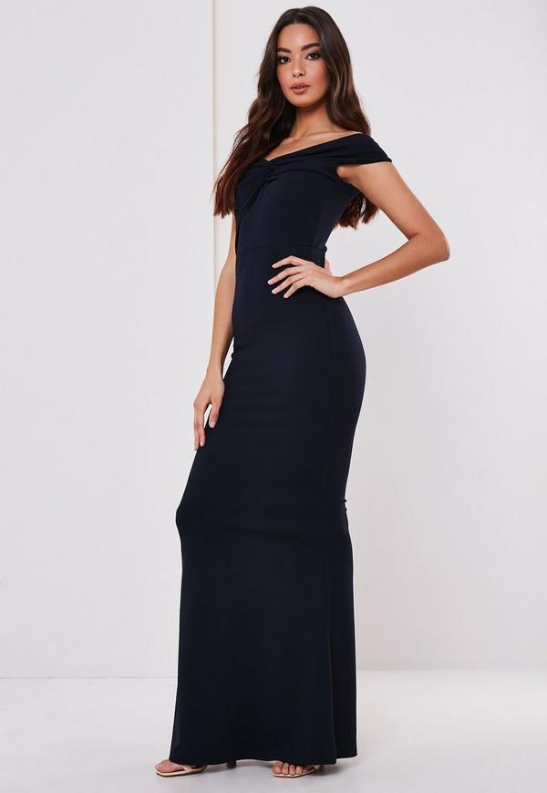 best collection colours and striking lace up in Bridesmaid Navy Bardot Twist Front Maxi Dress