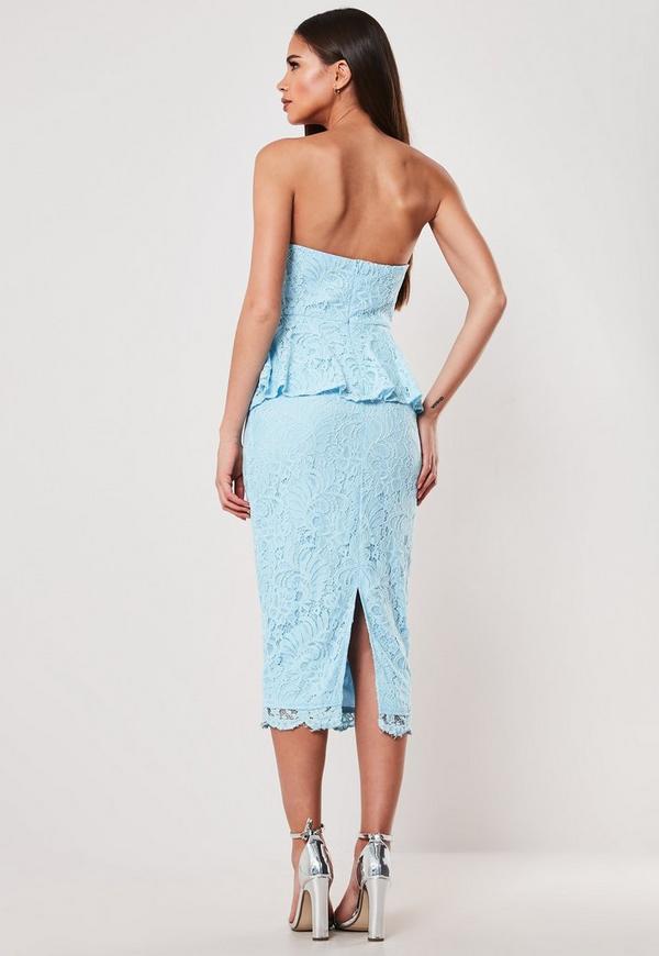 55dbed87fb6 Blue Lace Cupped Peplum Bodycon Midi Dress