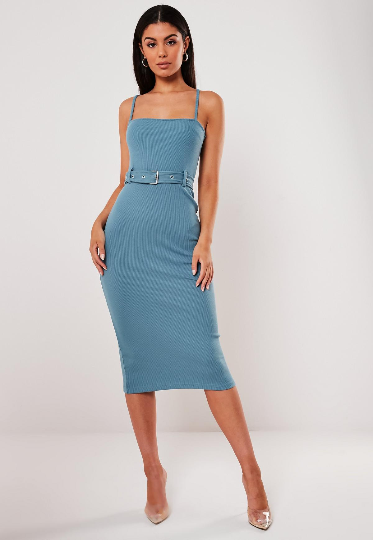 Blue Rib Belted Cami Bodycon Midi Dress Missguided