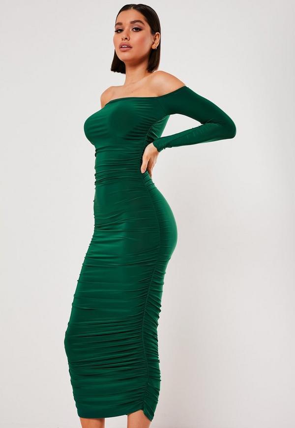 f92d64a33cc Dark Green Bardot Slinky Ruched Bodycon Midaxi Dress