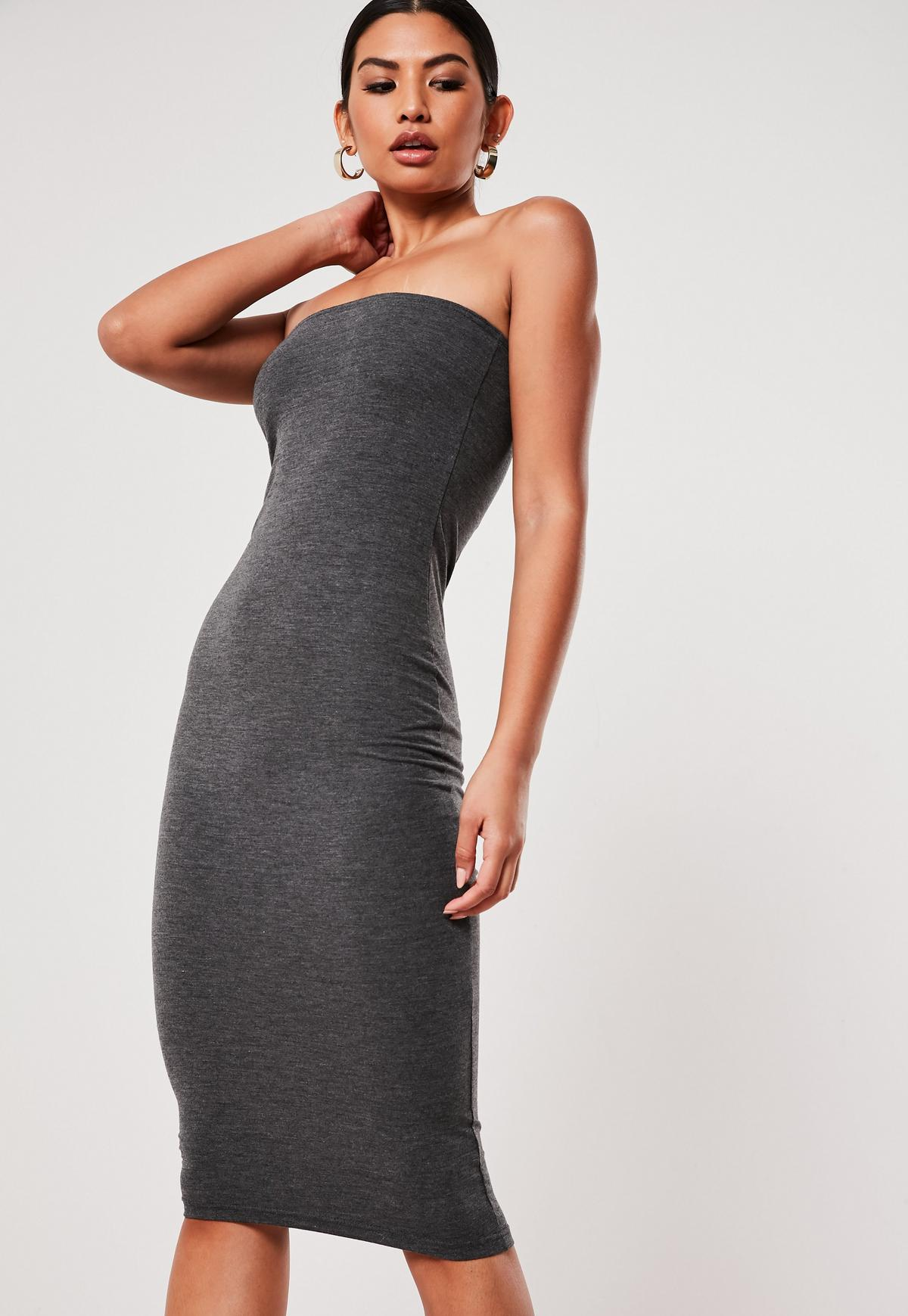 Gray Basic Jersey Bandeau Bodycon Midi Dress Missguided