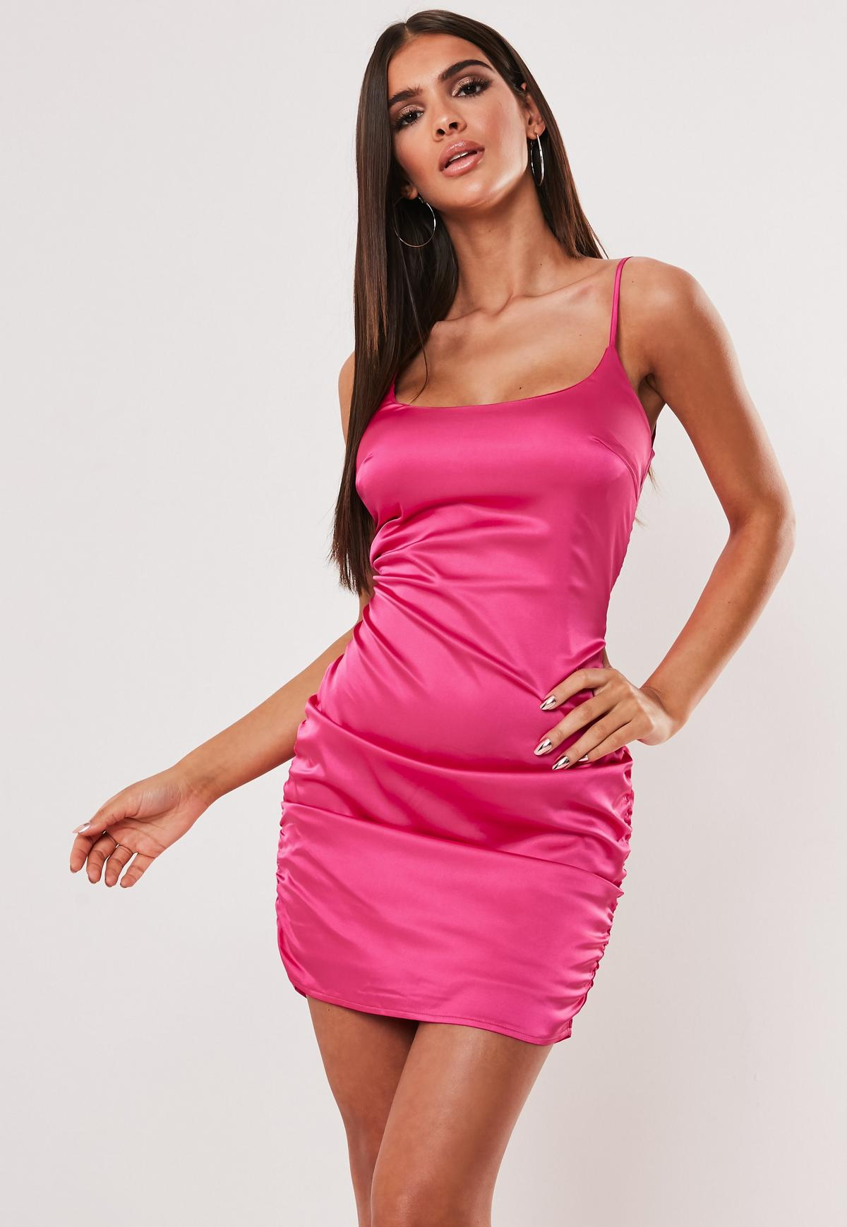 Hot Pink Satin Ruched Cami Bodycon Mini Dress Missguided