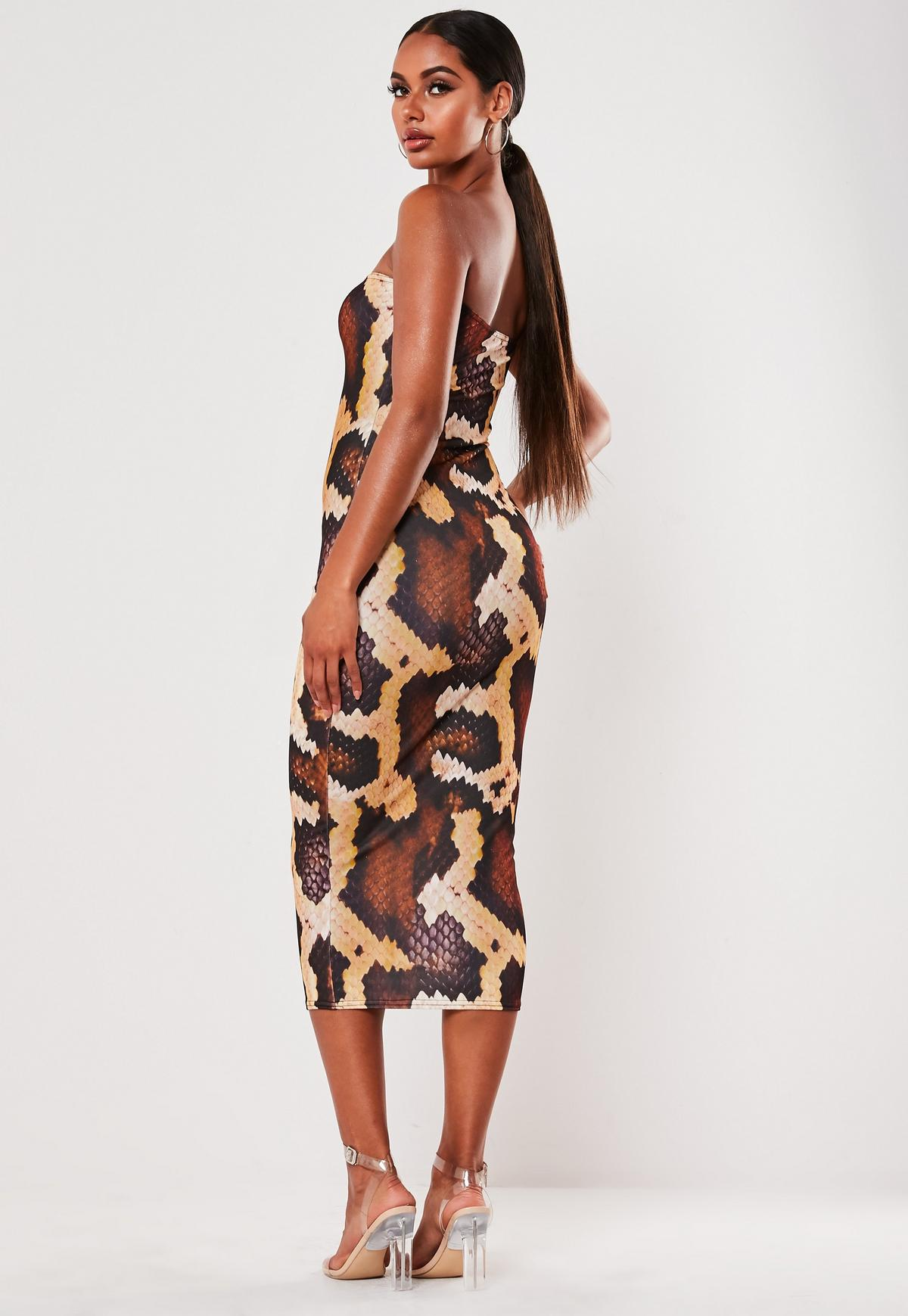 Brown Snake Print Bandeau Midi Dress Missguided