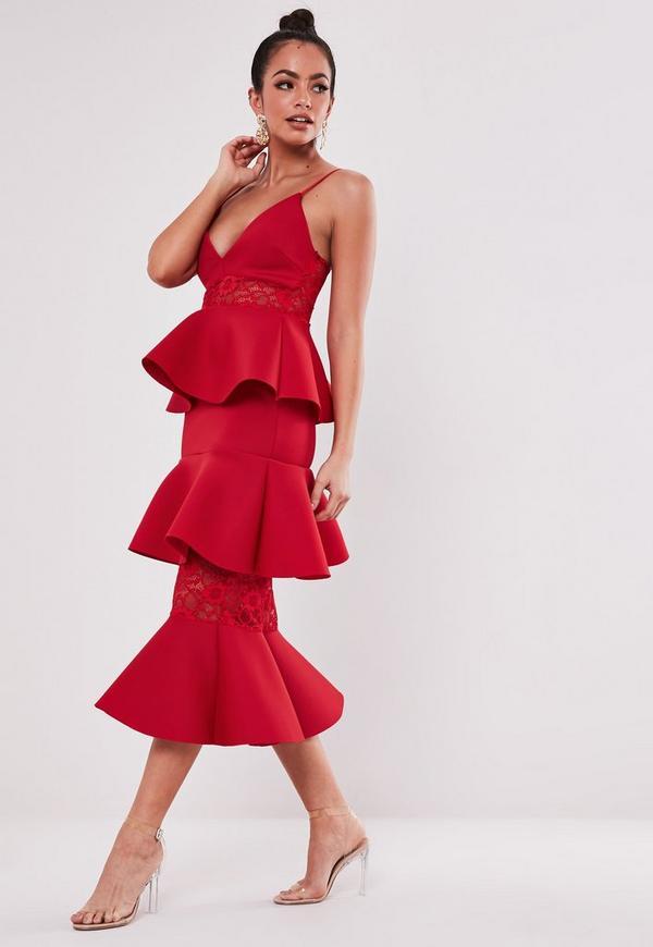 Red Lace Panel Scuba Tiered Midi Dress