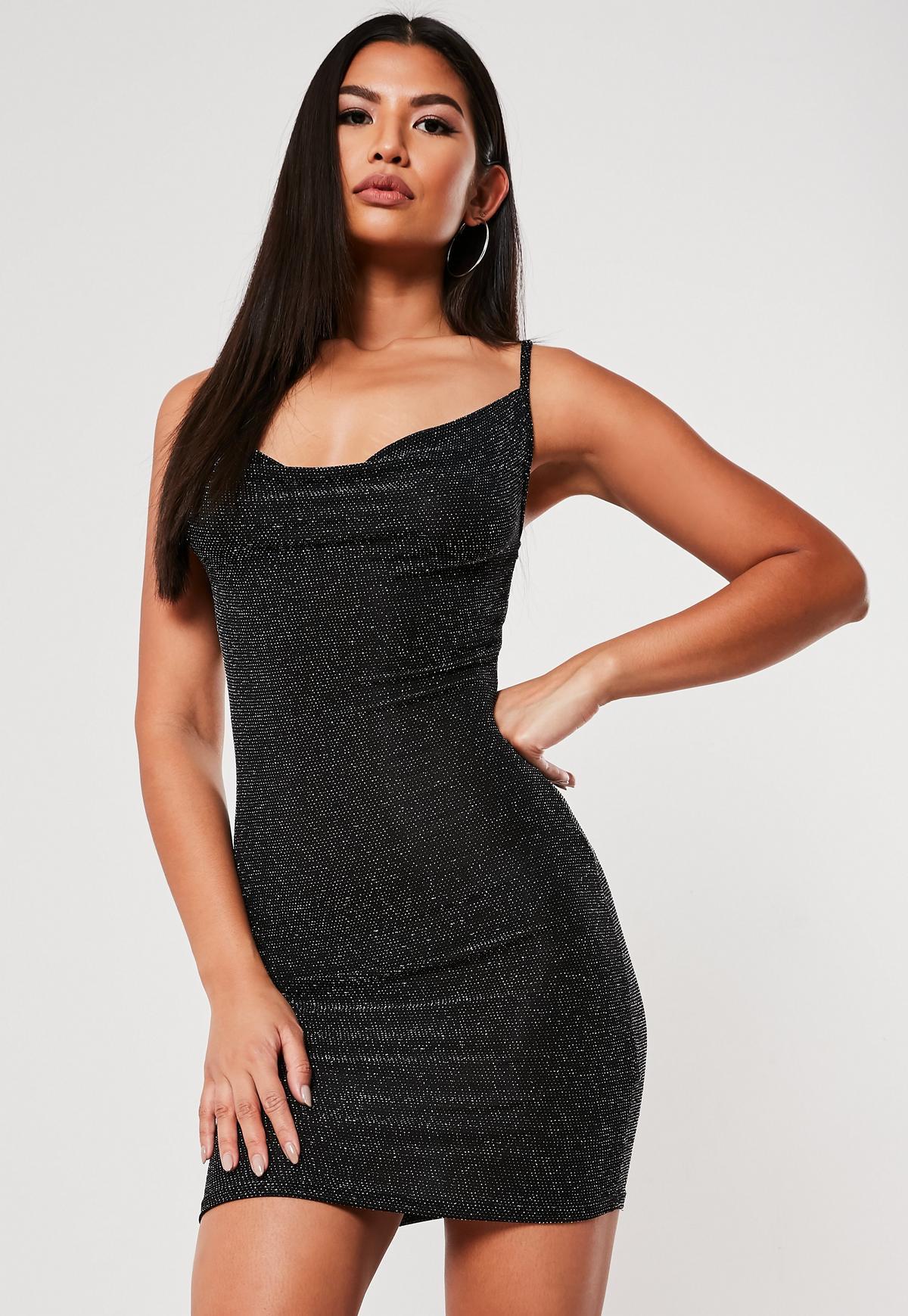 Black textured glitter cowl neck bodycon dress codes asda