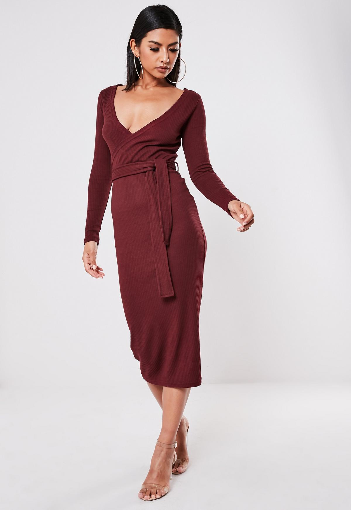Burgundy Ribbed Wrap Front Tie Belt Midi Dress