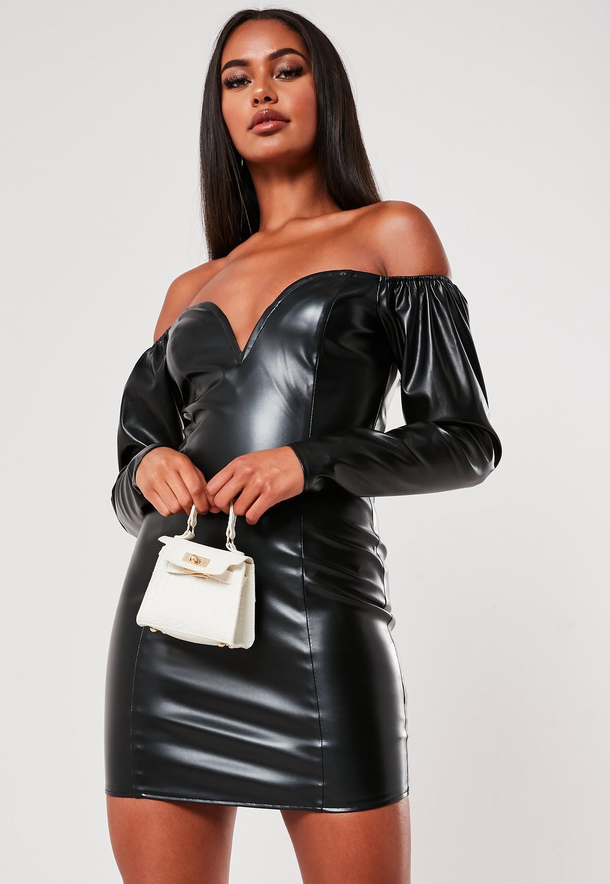 Black Faux Leather Off Shoulder Mini Dress