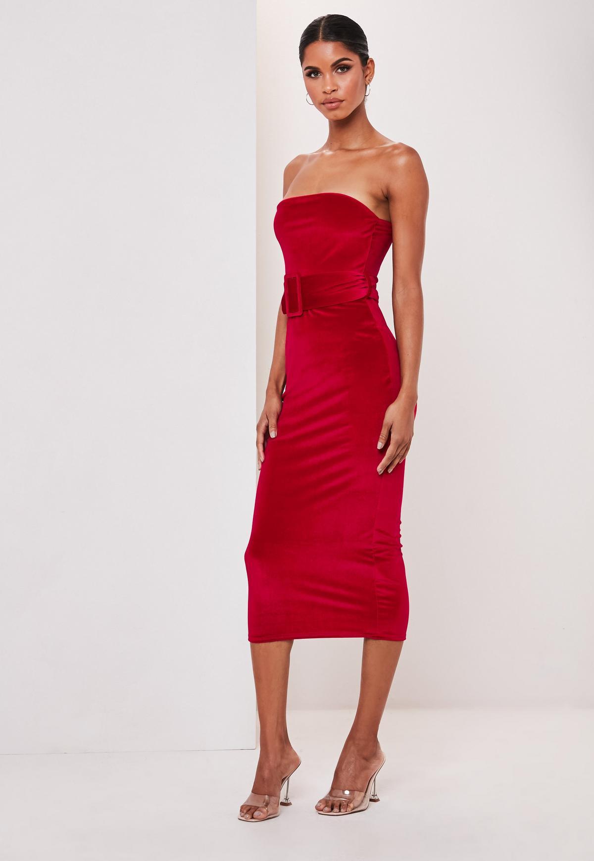 Wonderbaarlijk Red Velvet Bandeau Belted Midi Dress   Missguided FU-23
