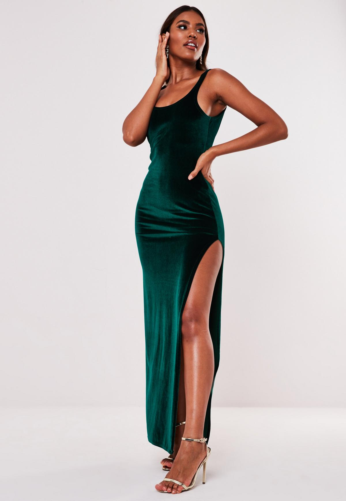 Green Velvet Low Back Side Split Maxi Dress Missguided