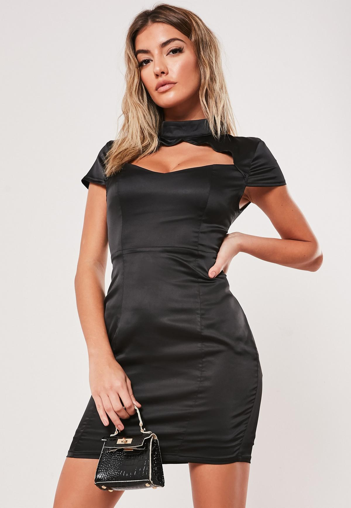High Neck Cut Out Mini Dress Missguided