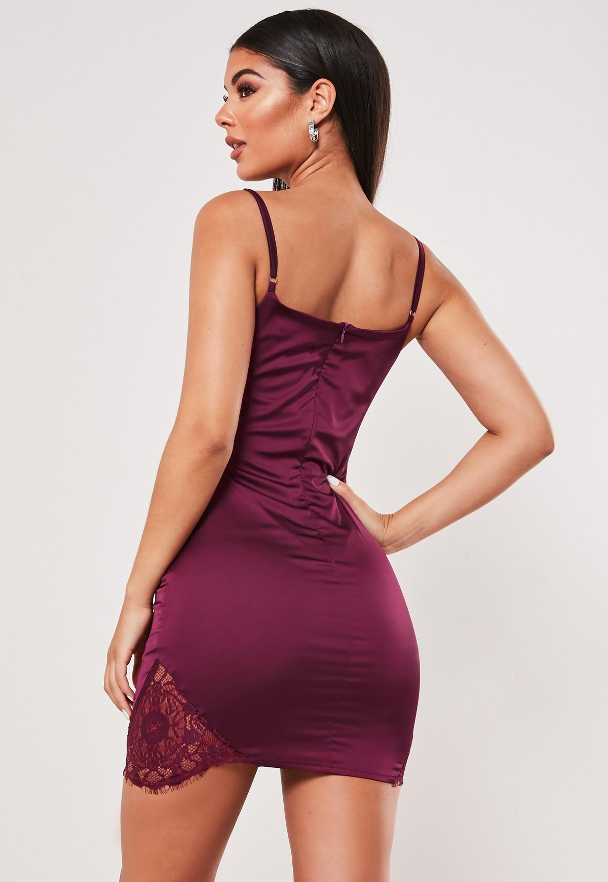 Plum Stretch Satin Lace Side Bodycon Mini Dress Missguided