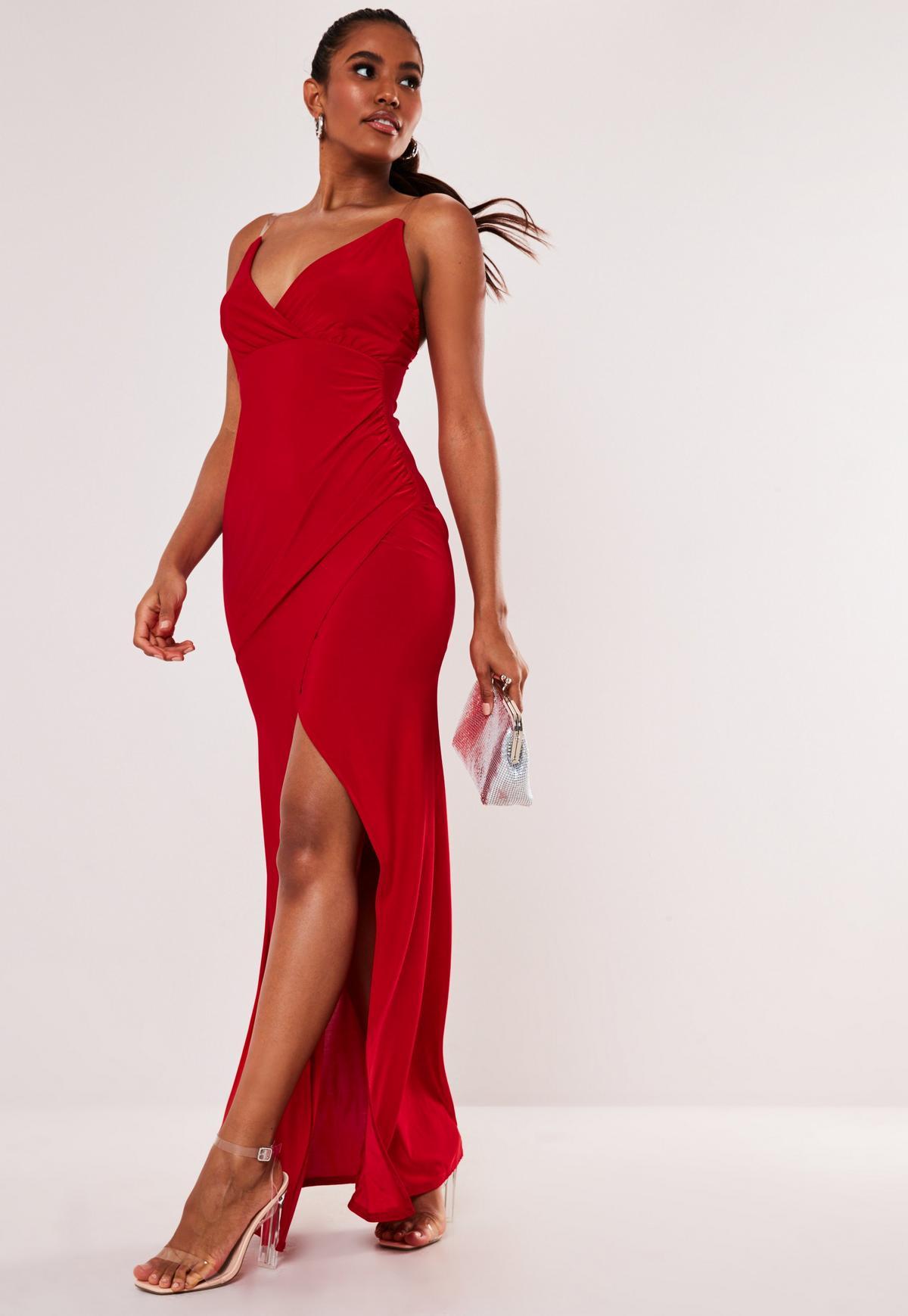 Czerwona sukienka maxi na przezroczystych ramiączkach
