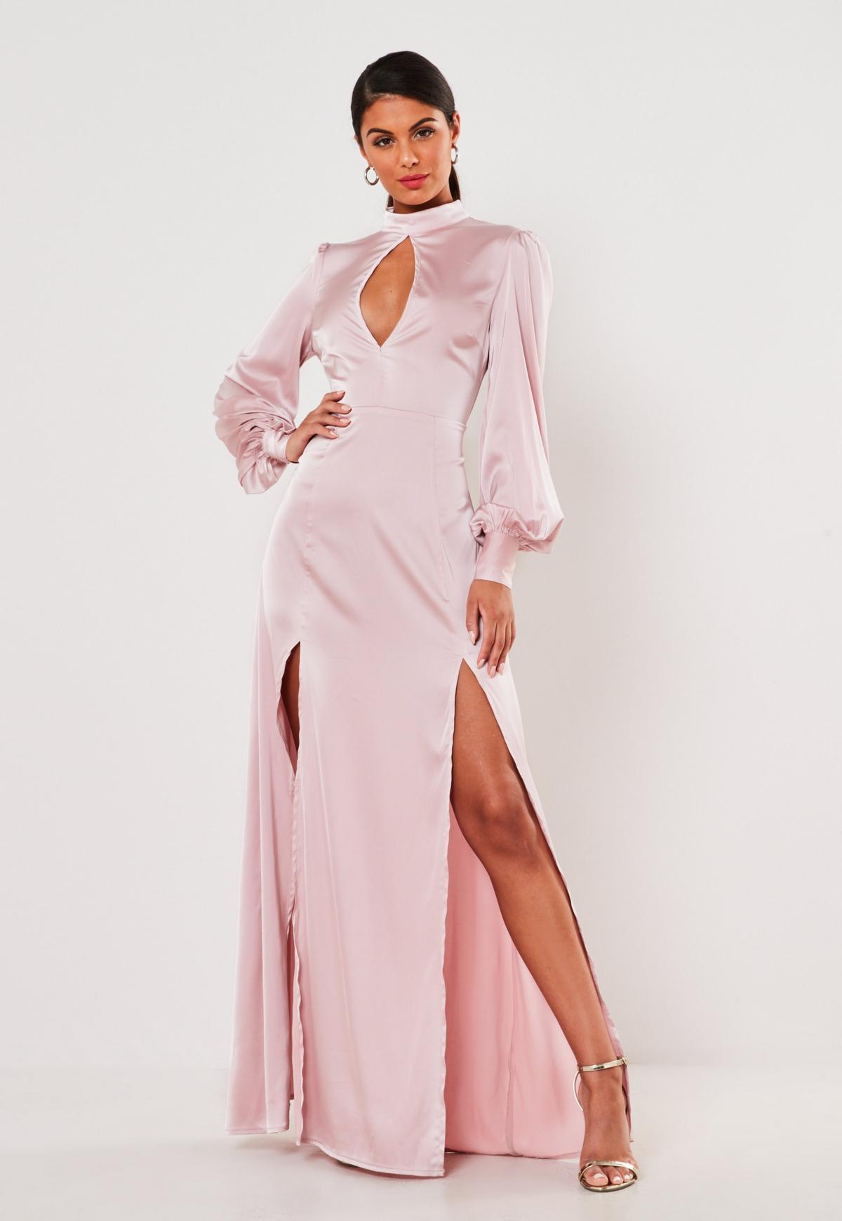 Rose Satin High Keyhole Maxi Dress | Missguided