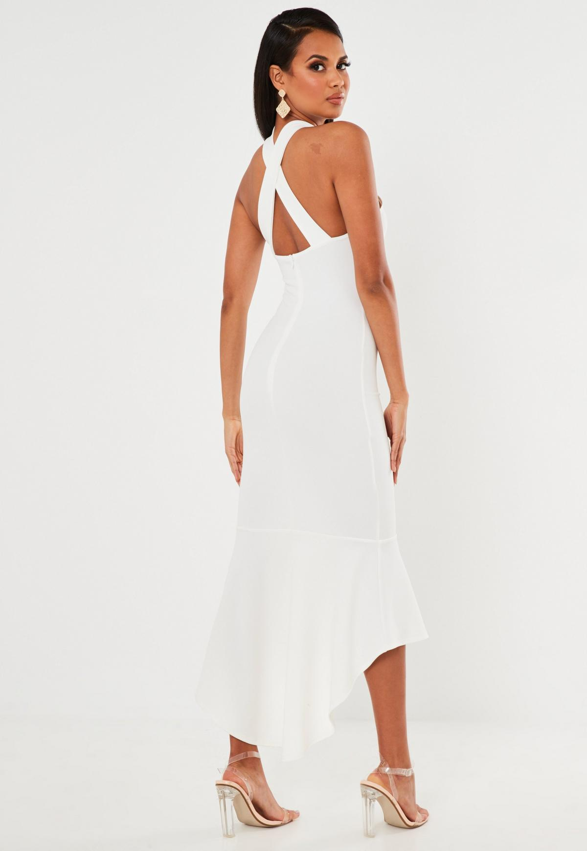 white halterneck frill hem midi dress