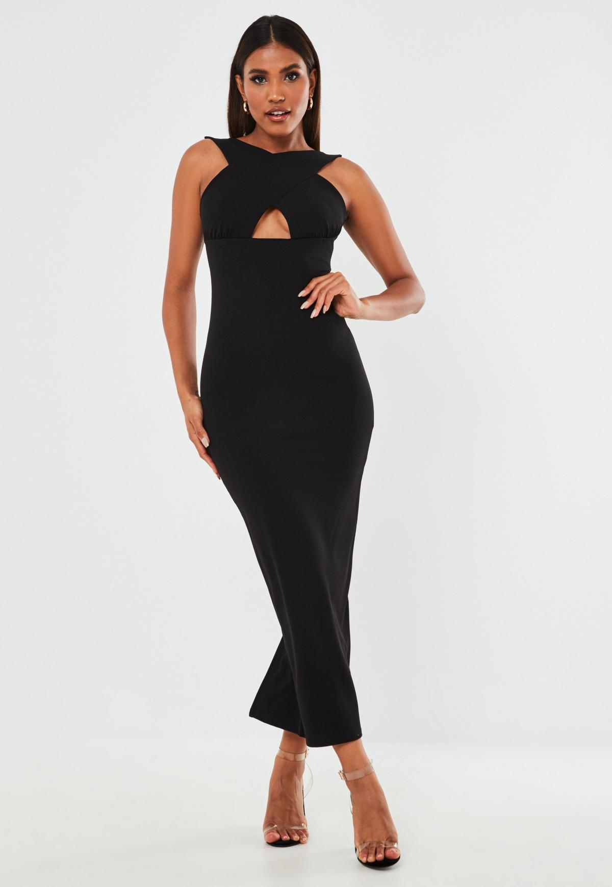 Black Cross Front Halterneck Maxi Dress