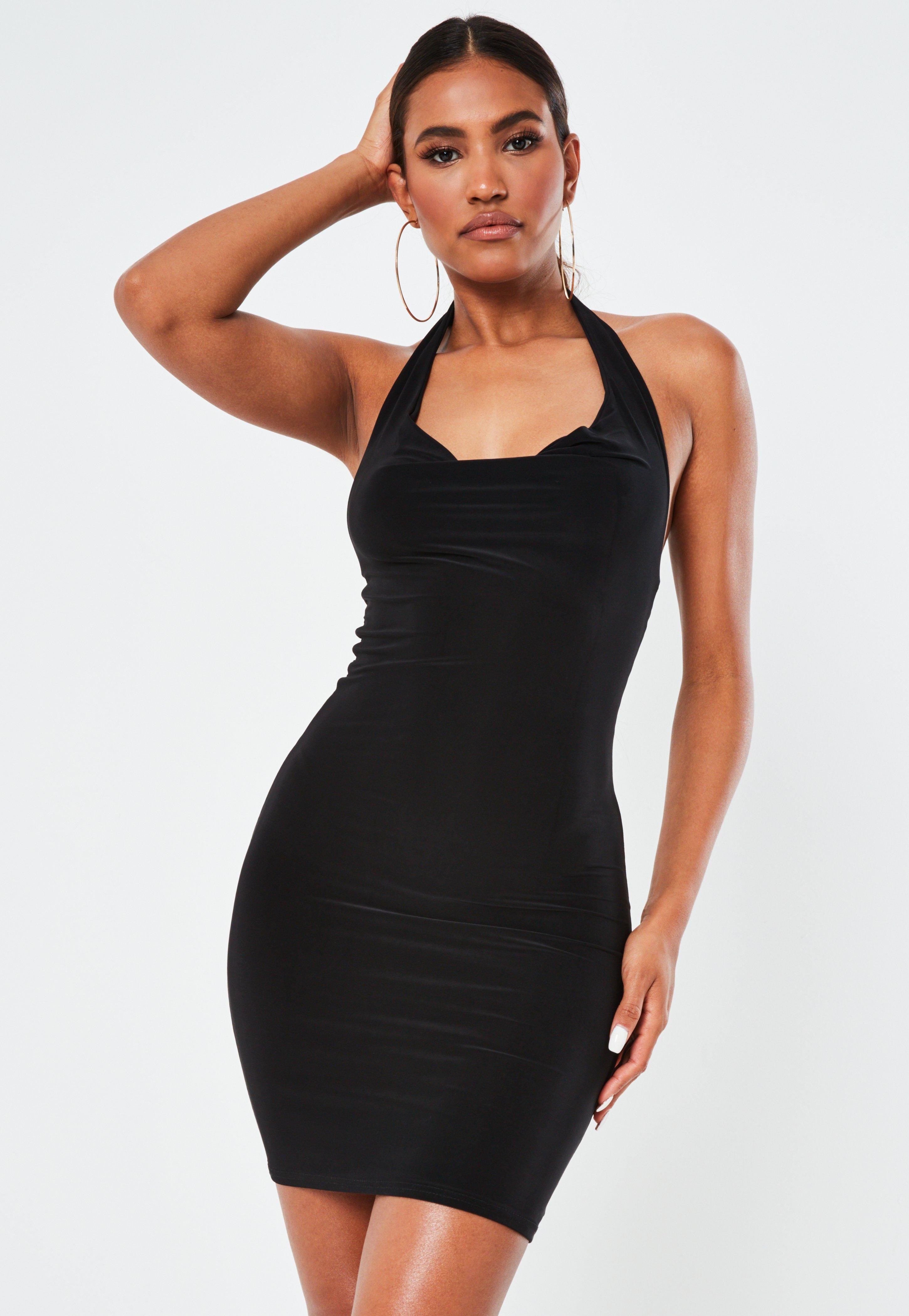 Black Slinky Halterneck Mini Dress